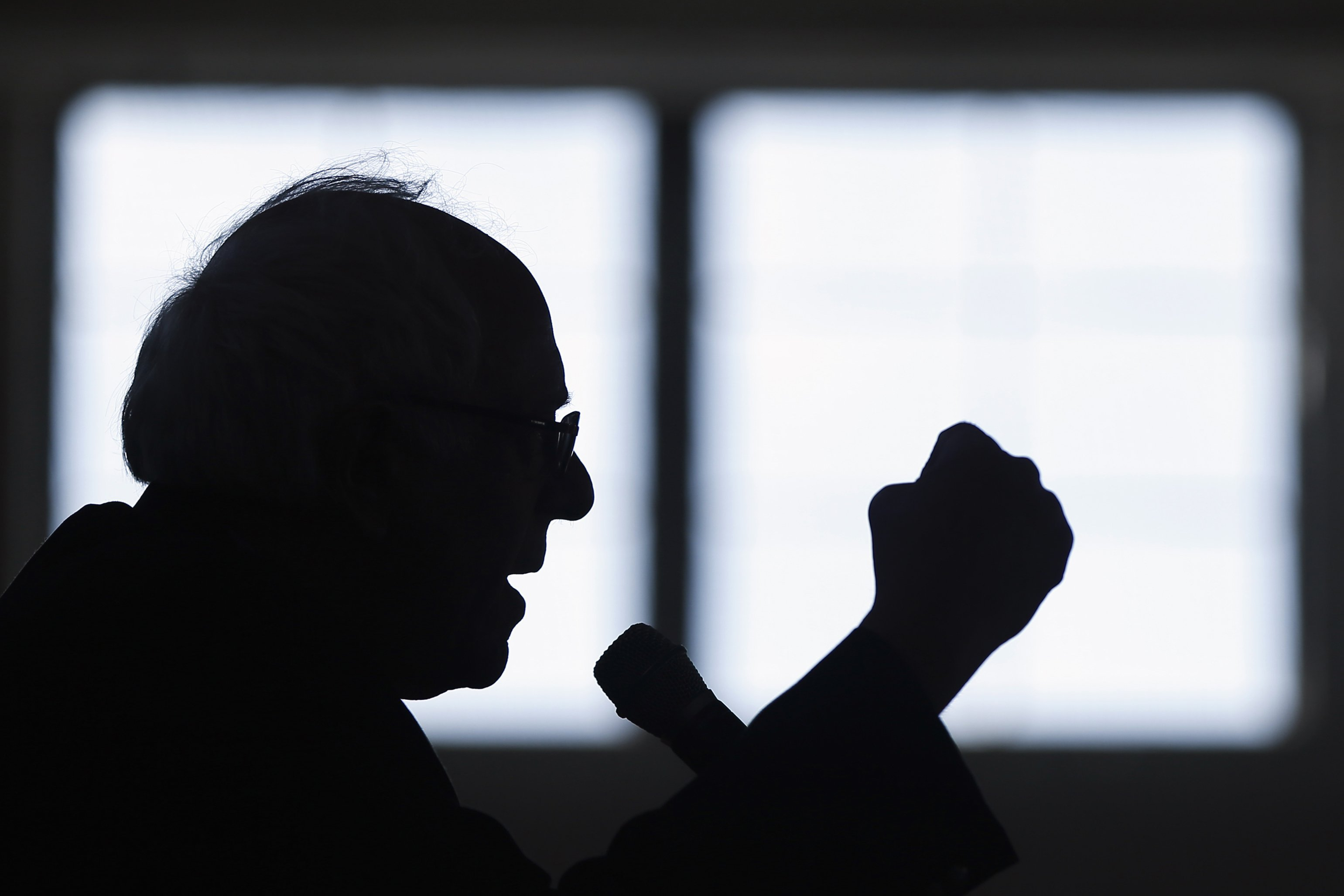 Bernie Sanders speaks during a campaign stop in Peterborough, NH on Jan. 21, 2016.