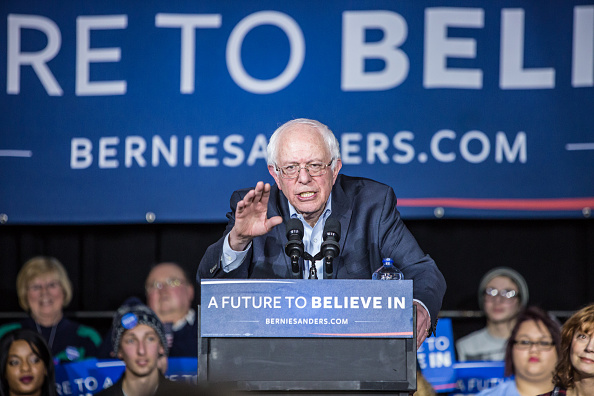 Democratic presidential candidate Sen. Bernie Sanders (I-VT) speaks at a campaign rally at Music Man Square on January 27, 2016 in Mason City, Iowa.