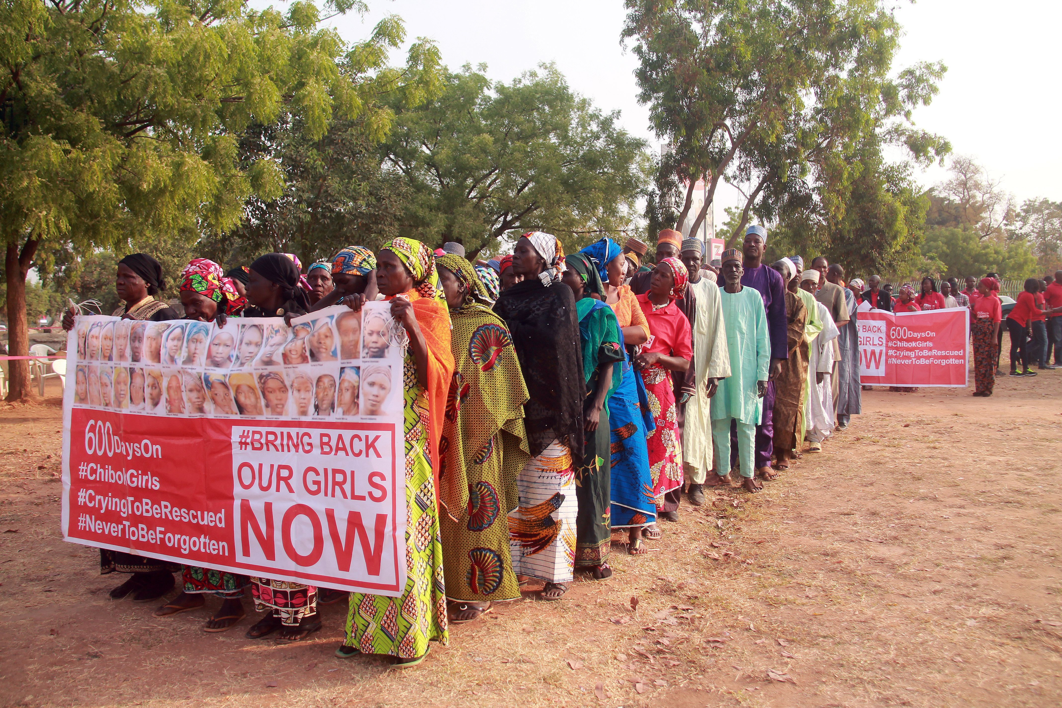 Members of the  Bring Back Our Girls  movement and mothers of the missing schoolgirls march in Abuja on January 14, 2016.