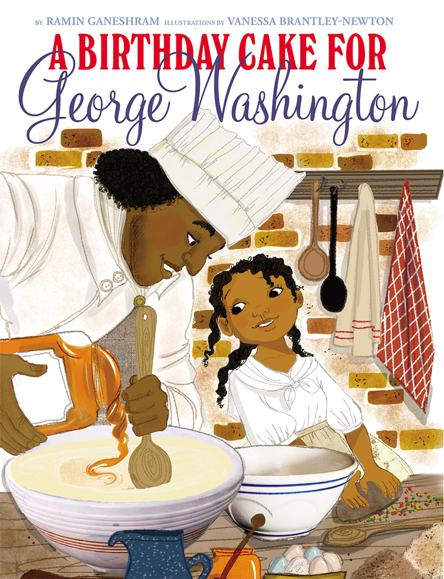 The cover of the book  A Birthday Cake for George Washington  by Ramin Ganeshram.