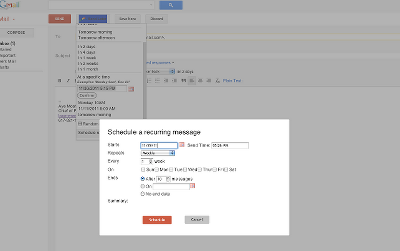 Boomerang for Gmail via the Chrome Web Store