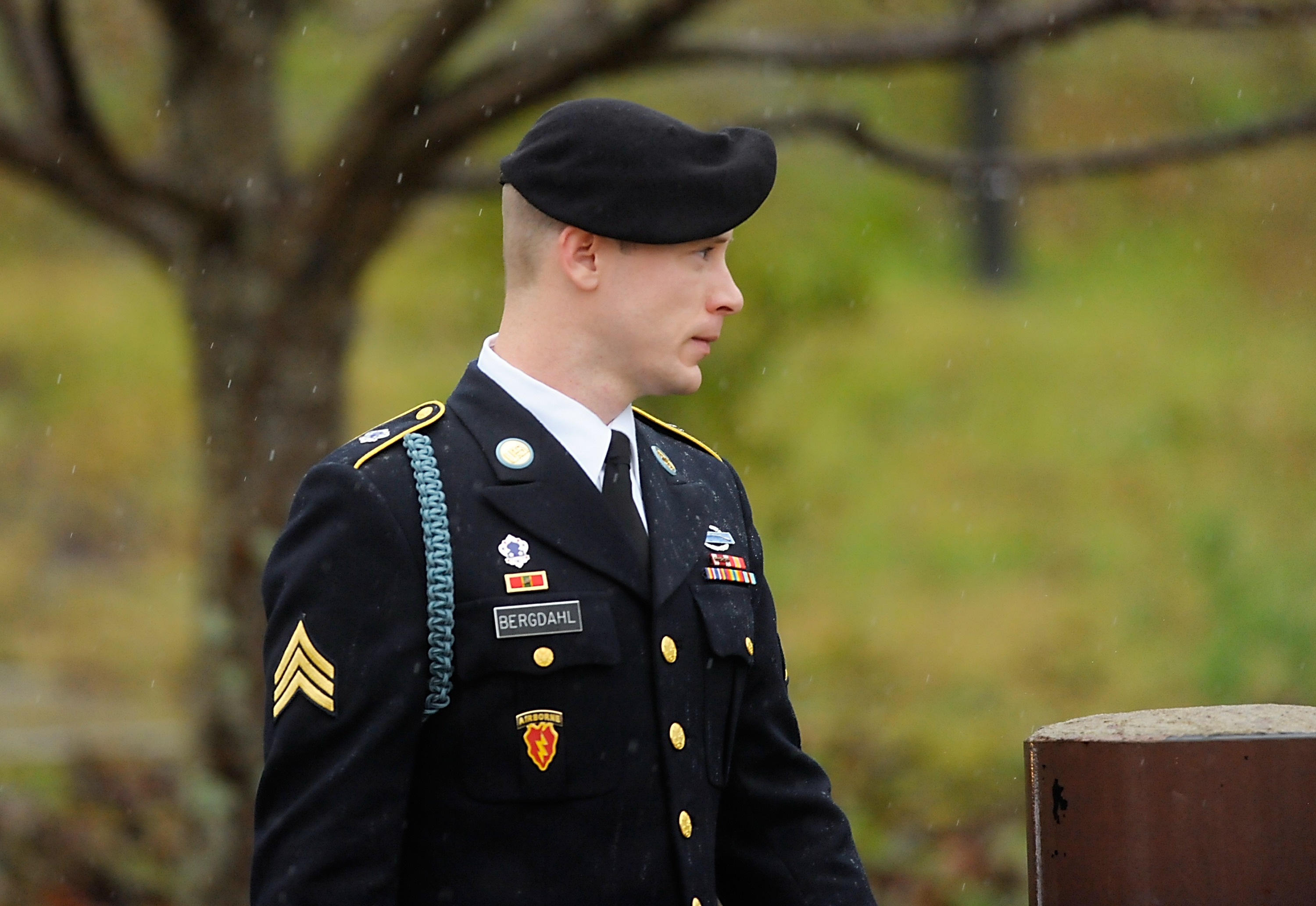 Army Sgt. Bowe Bergdahl leaves his arraignment in Fort Bragg on Dec. 22, 2015.