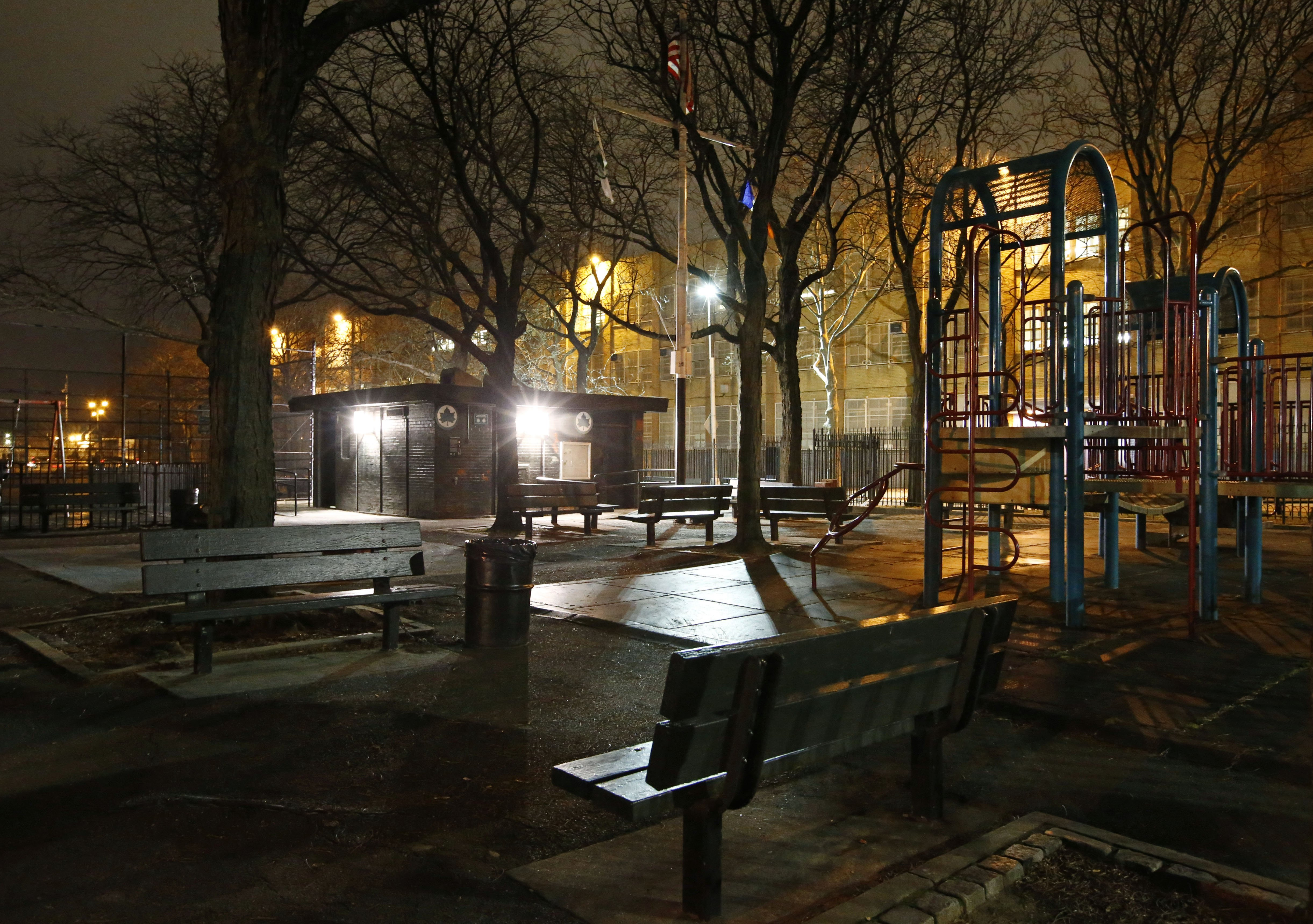 New floodlight-style lighting has been installed at Osborn Playground in the Brooklyn borough of New York, on Jan. 14, 2016.