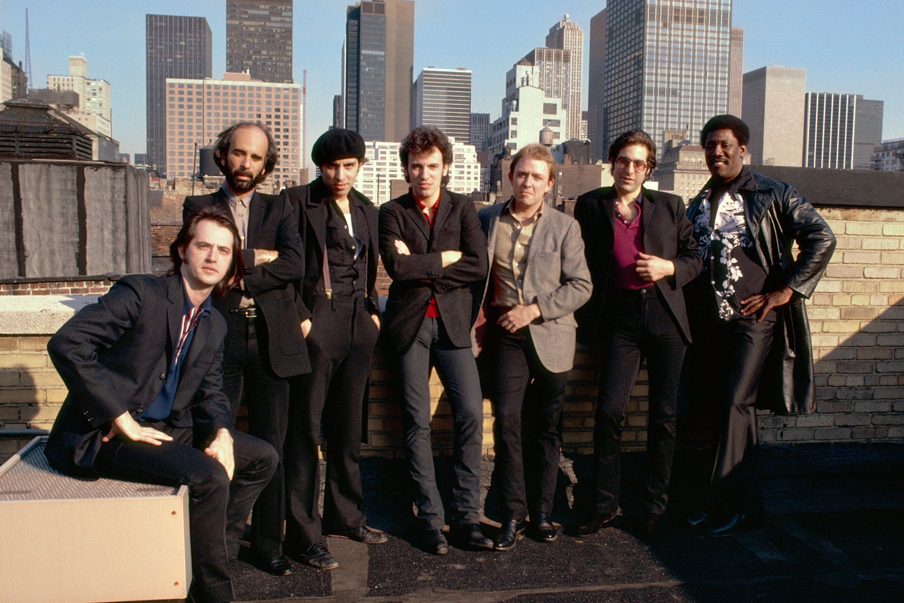 Bruce Springsteen &                               The E Street Band are seen on the roof of the                                Power Station recording studio in New York City, April 1980.