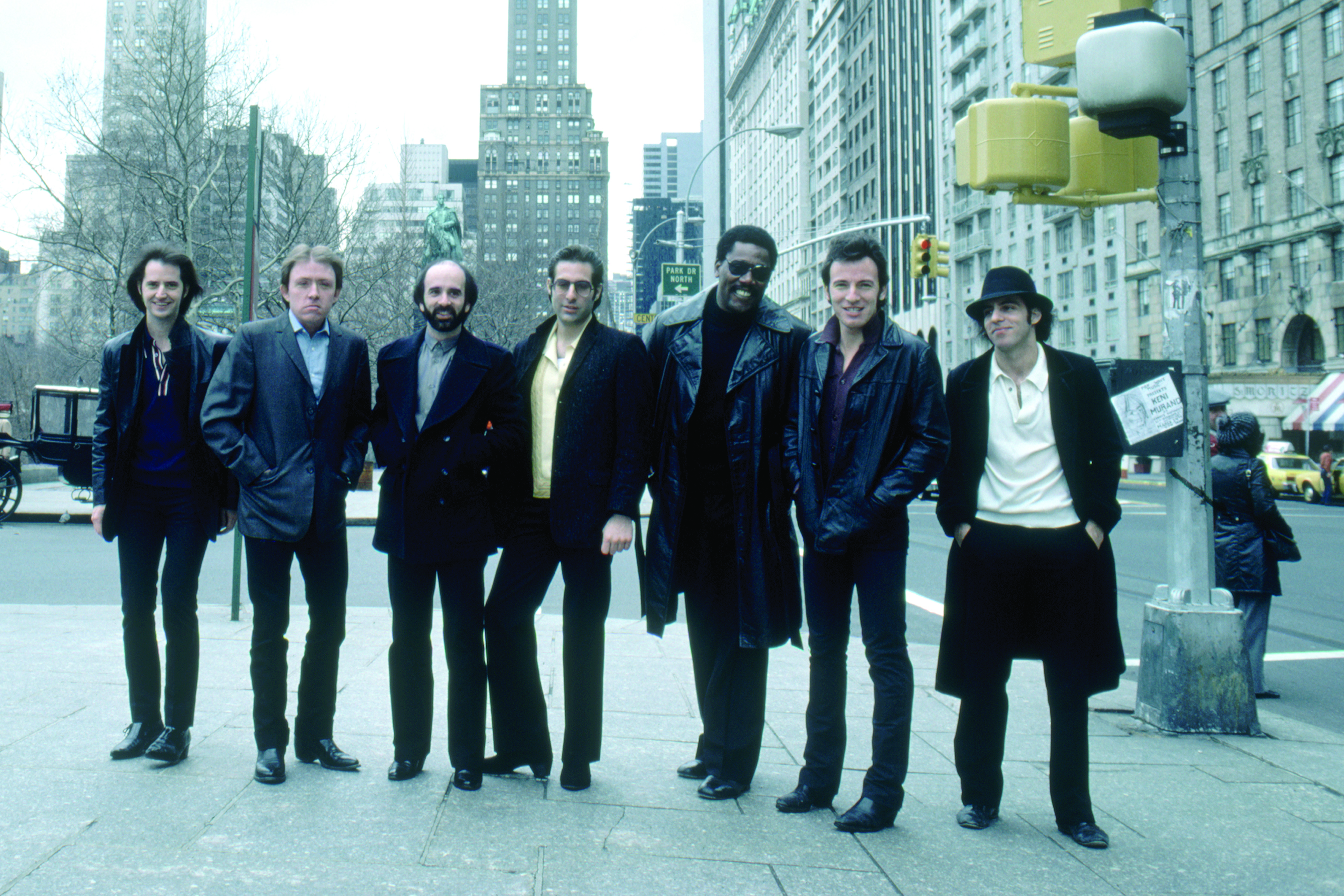 Bruce Springsteen & The E Street Band are seen in this rare photo near Central Park in New York City, March 1980.