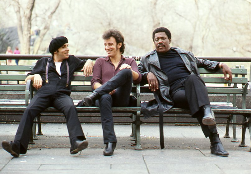 "From left: ""Little Steven"" Van Zandt, Bruce Springsteen and Clarence Clemons are seen on a bench in Central Park in New York City in Aug. 1979."