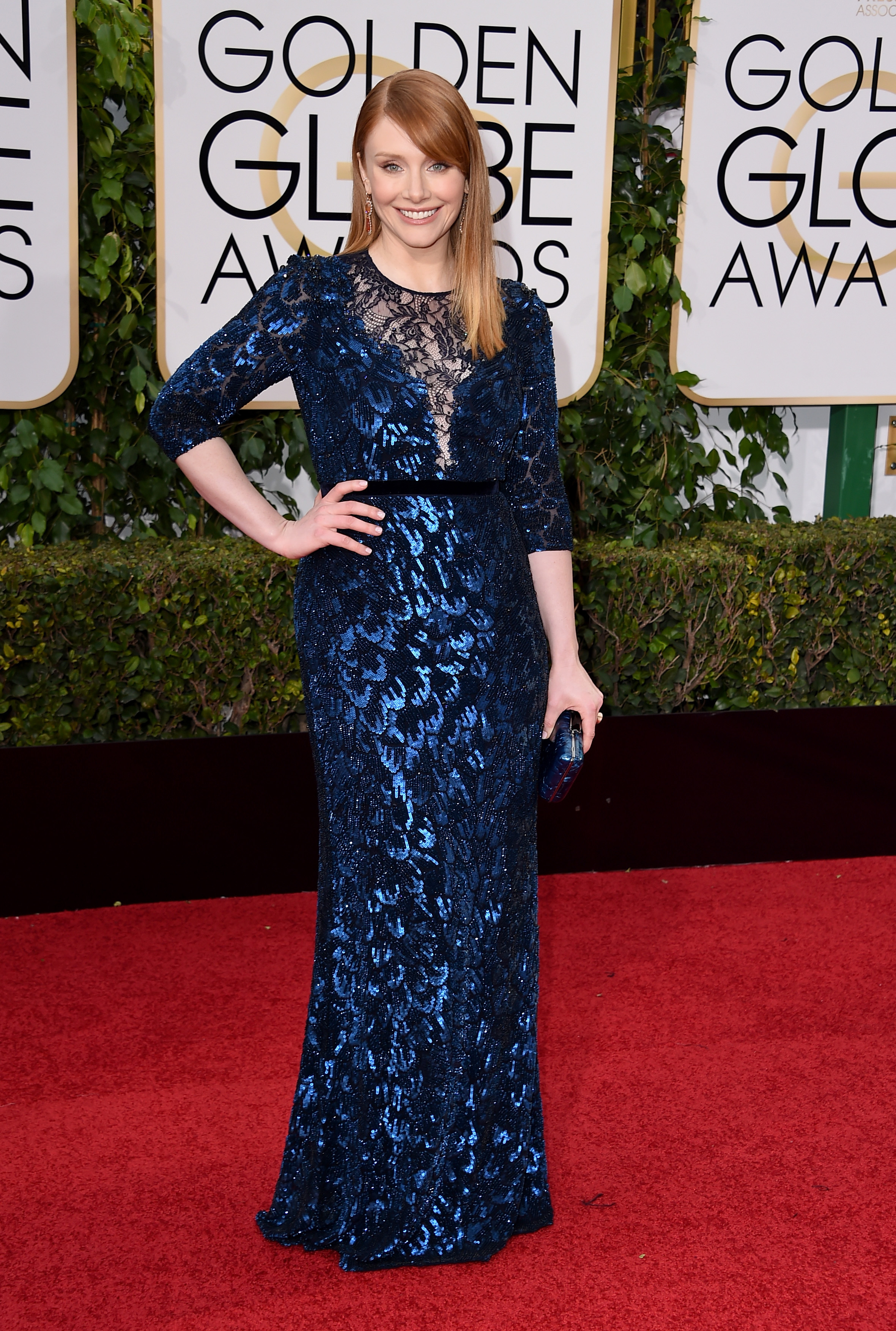 Bryce Dallas Howard arrives to the 73rd Annual Golden Globe Awards on Jan. 10, 2016 in Beverly Hills.