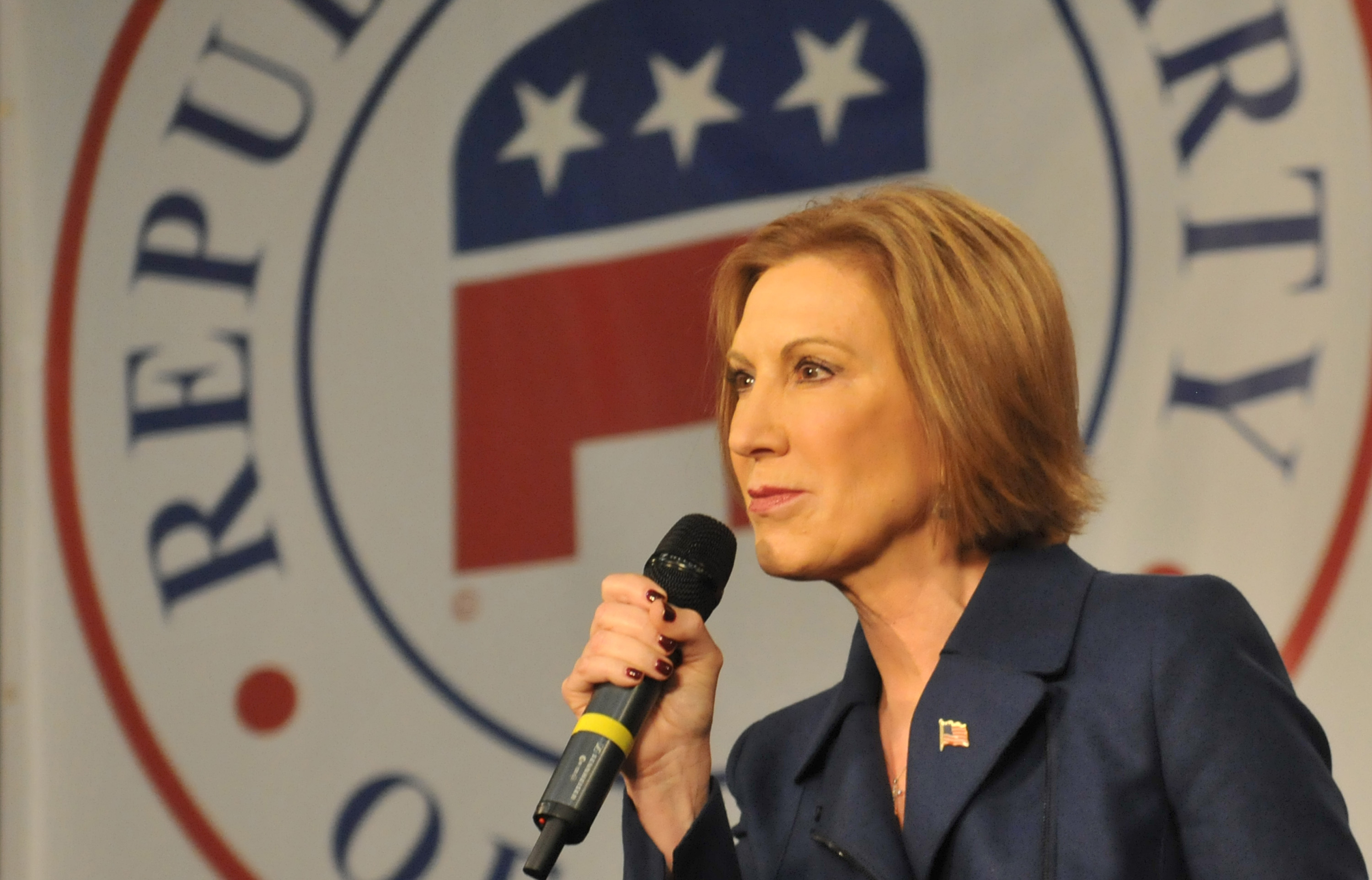 Republican presidential candidate Carly Fiorina speaks at the Growth and Opportunity Party, at the Iowa State Fair in Des Moines, Iowa, on Oct. 31, 2015.
