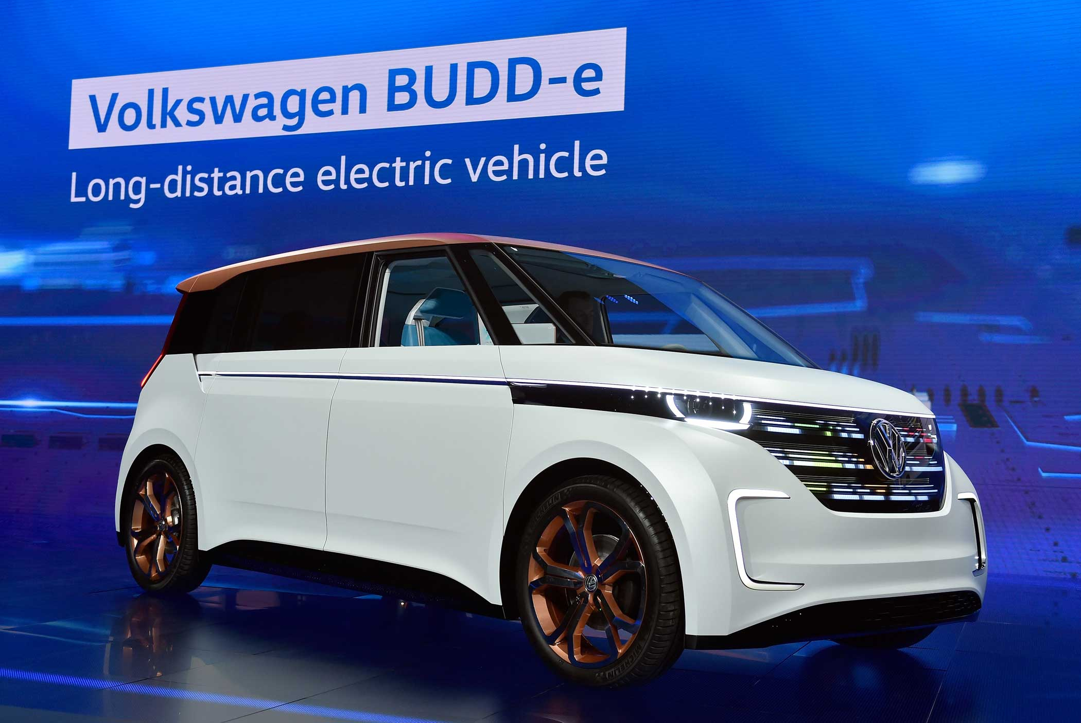 The Volkswagen BUDD-e, a long distance electric vehicle.