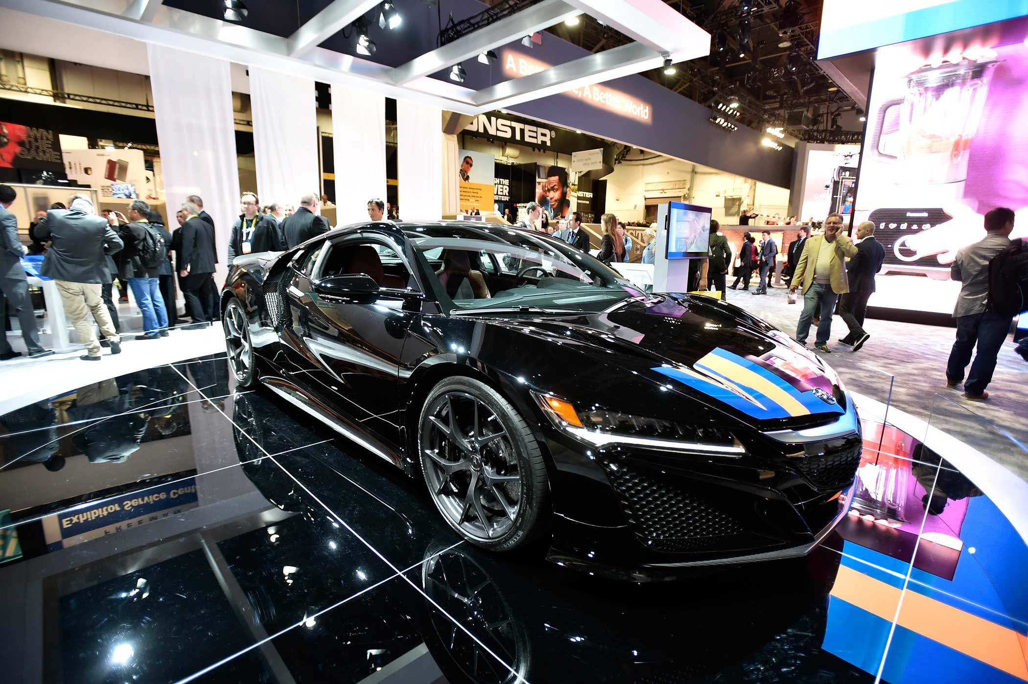 The 2017 Acura NSX Hybrid is displayed at the Panasonic booth.