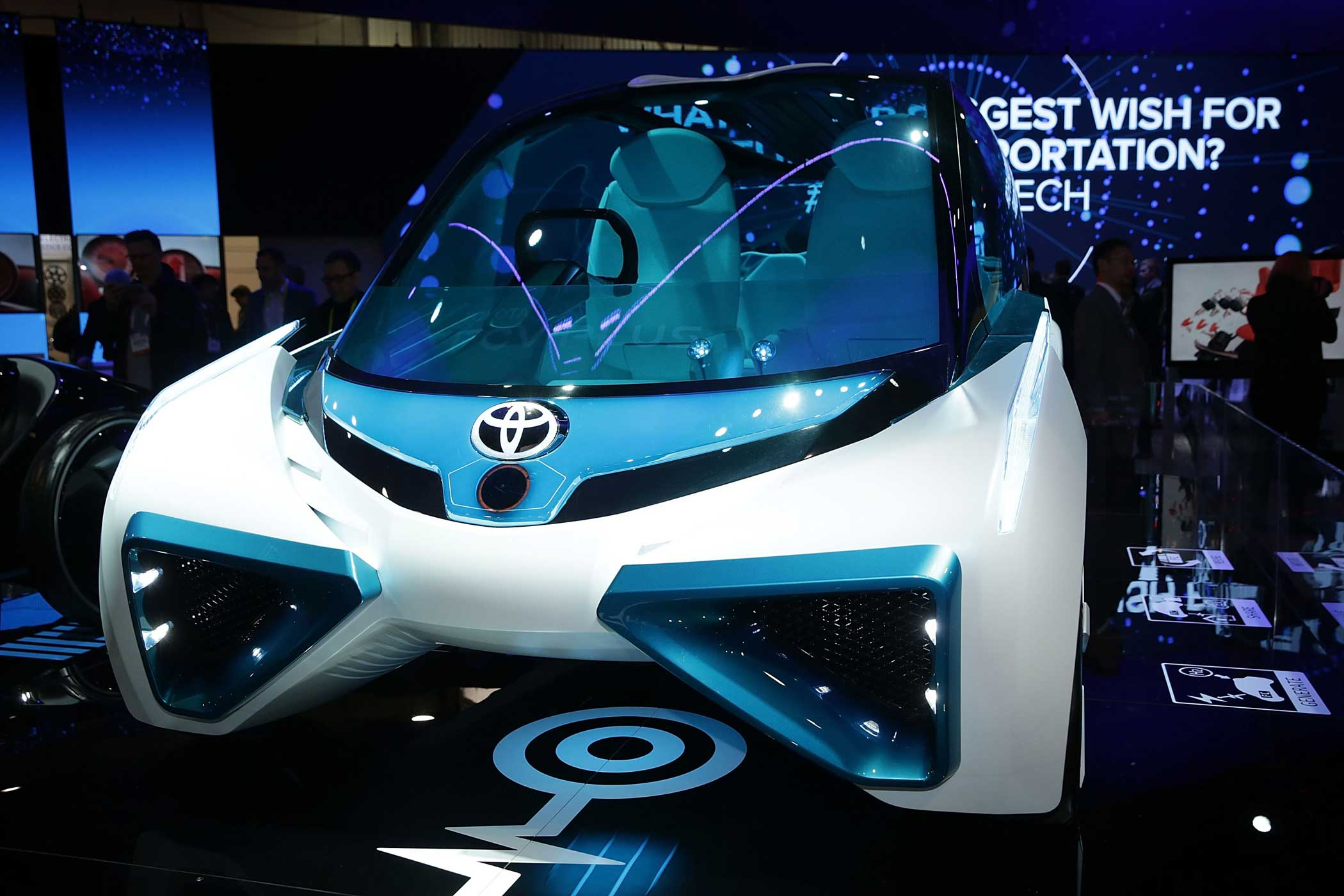 The Toyota FCV Plus, a hydrogen fuel cell concept vehicle which generates electricity from hydrogen stored outside that operates as a stable source of power.