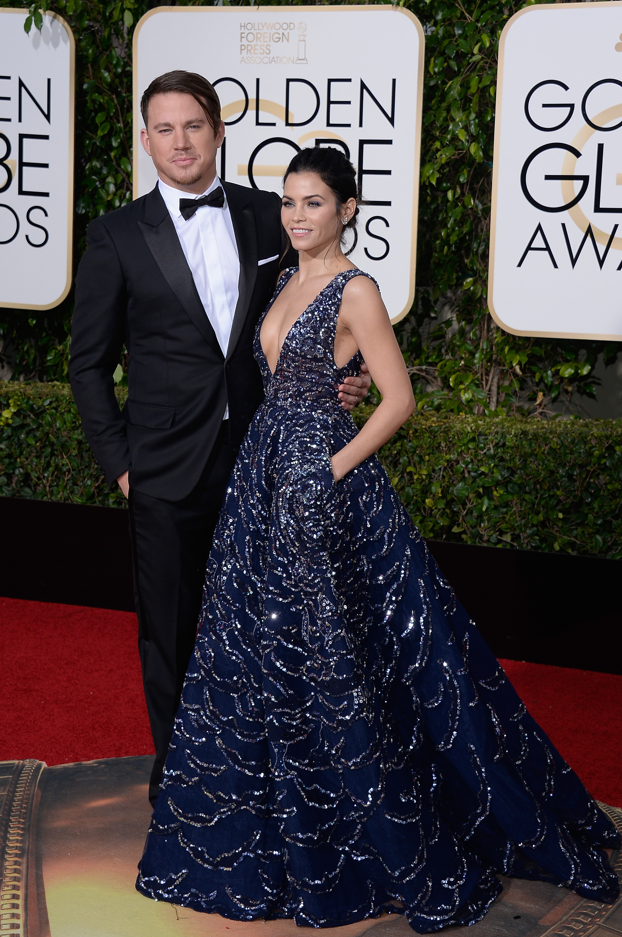 Channing Tatum and Jenna Dewan Tatum arrive to the 73rd Annual Golden Globe Awards on Jan. 10, 2016 in Beverly Hills.