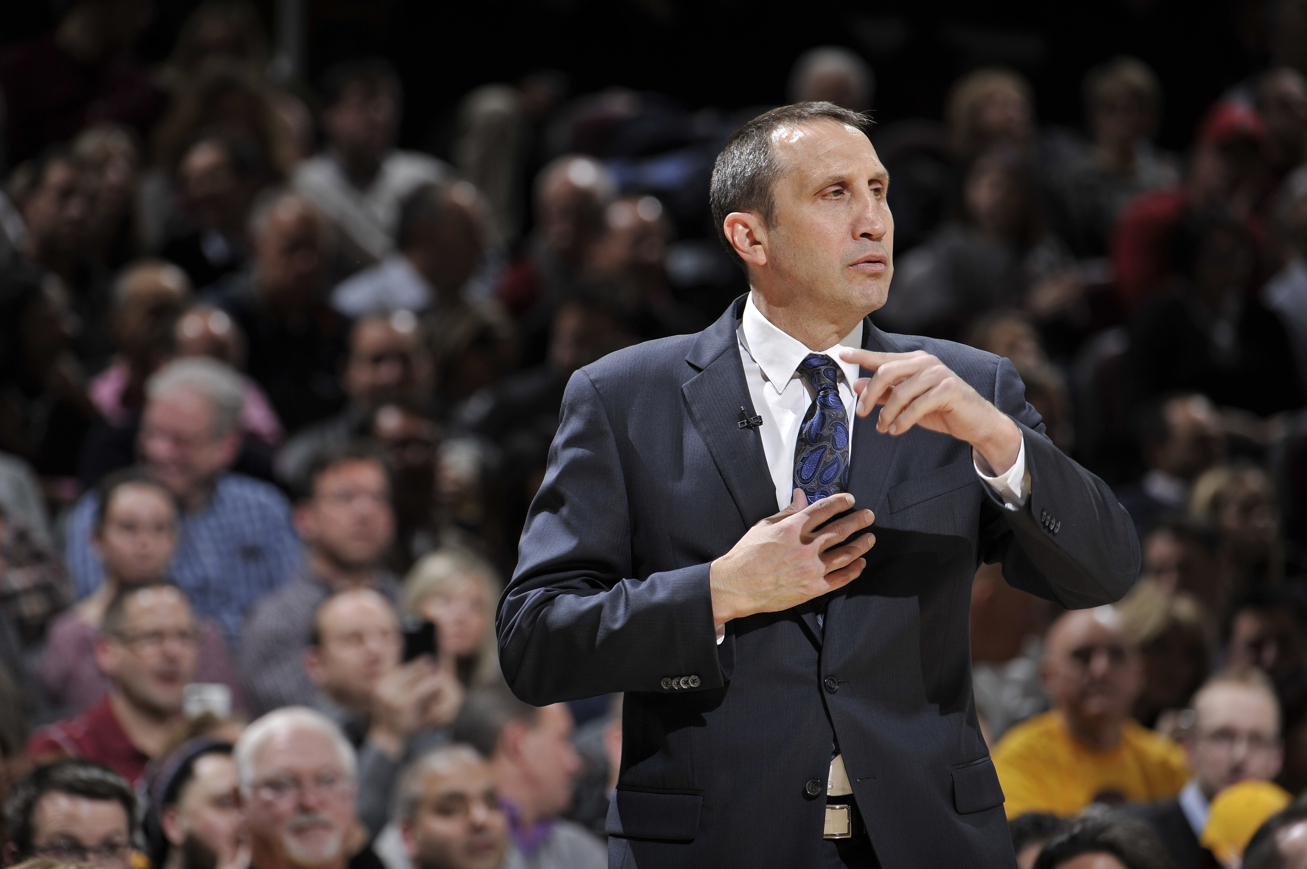 David Blatt of the Cleveland Cavaliers coaches against the Los Angeles Clippers on January 21, 2016 at Quicken Loans Arena in Cleveland, Ohio.