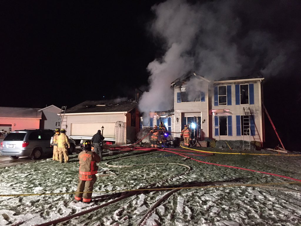 Authorities respond after a deadly house explosion on Jan. 11, 2016 in Northfield Center Township in Summit County, Ohio.