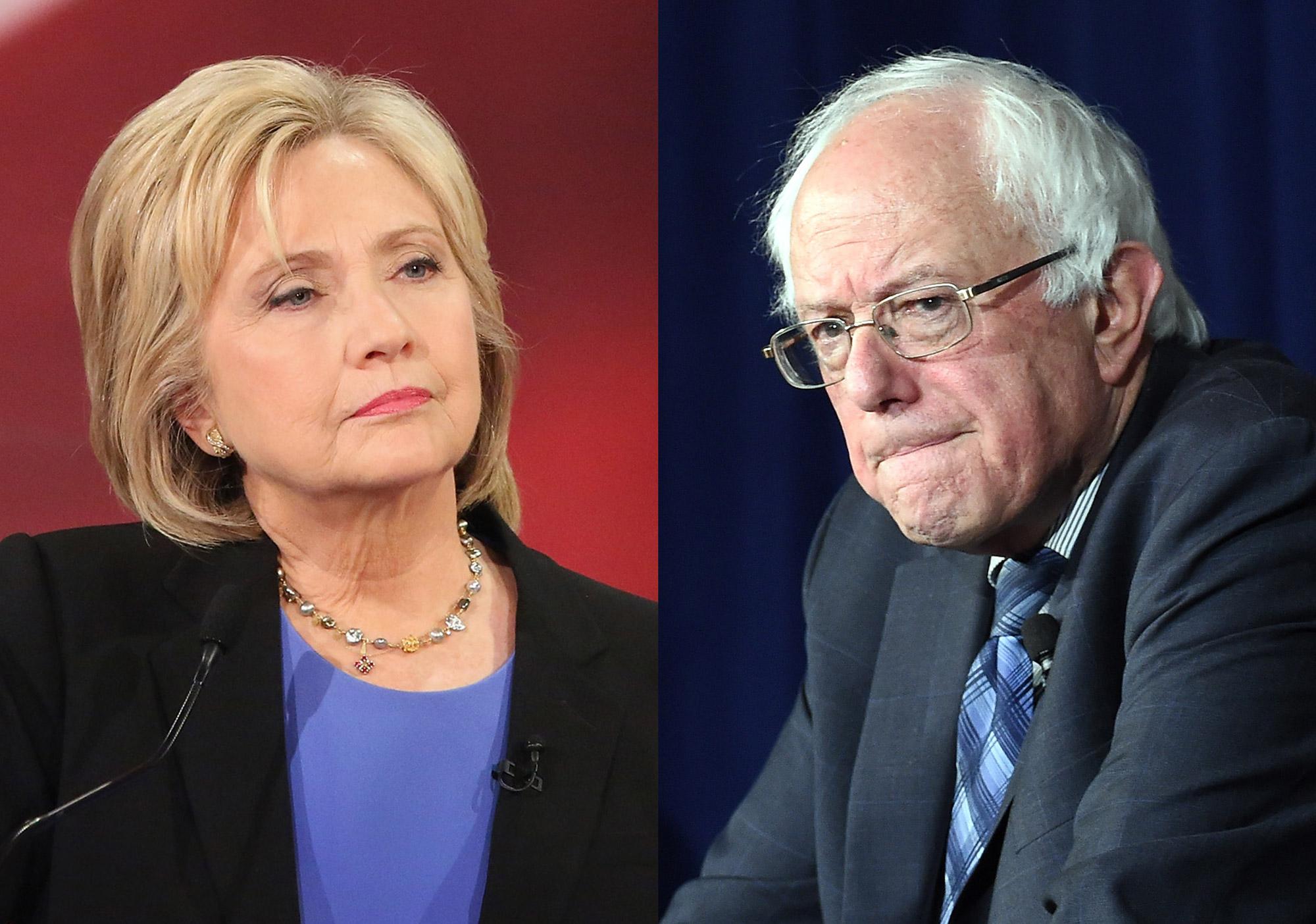 Hillary Clinton  in Charleston, SC on Jan. 17, 2016 (R); Bernie Sanders in Las Vegas, Nevada on Nov. 9, 2015.