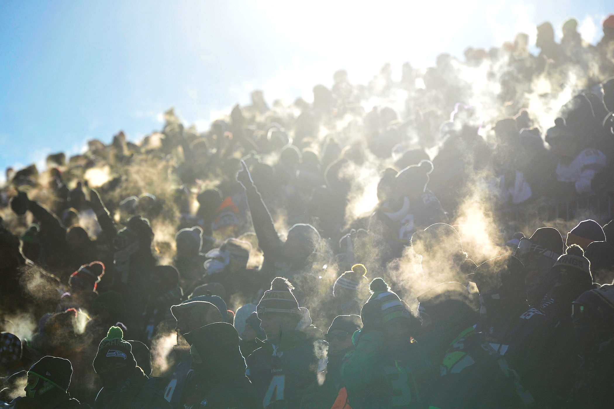 Temperature: -6°F (Wind Chill -25°F).                               On Jan. 10, 2016, fans braved subzero temperatures at an NFL football playoff game between the Minnesota Vikings and the Seattle Seahawks at TCFBank Stadium in Minneapolis.