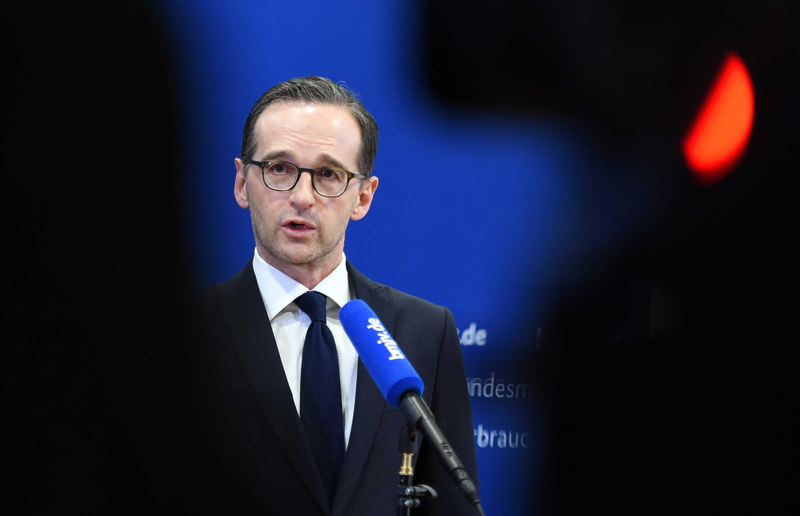 German federal justice minister Heiko Maas delivers remarks in Berlin on the New Year's Eve assaults in Cologne, Germany, Jan. 5, 2016.