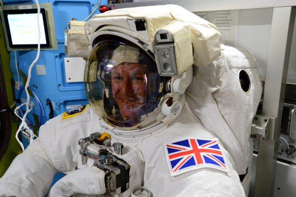 Tim Peake prepares for a spacewalk.