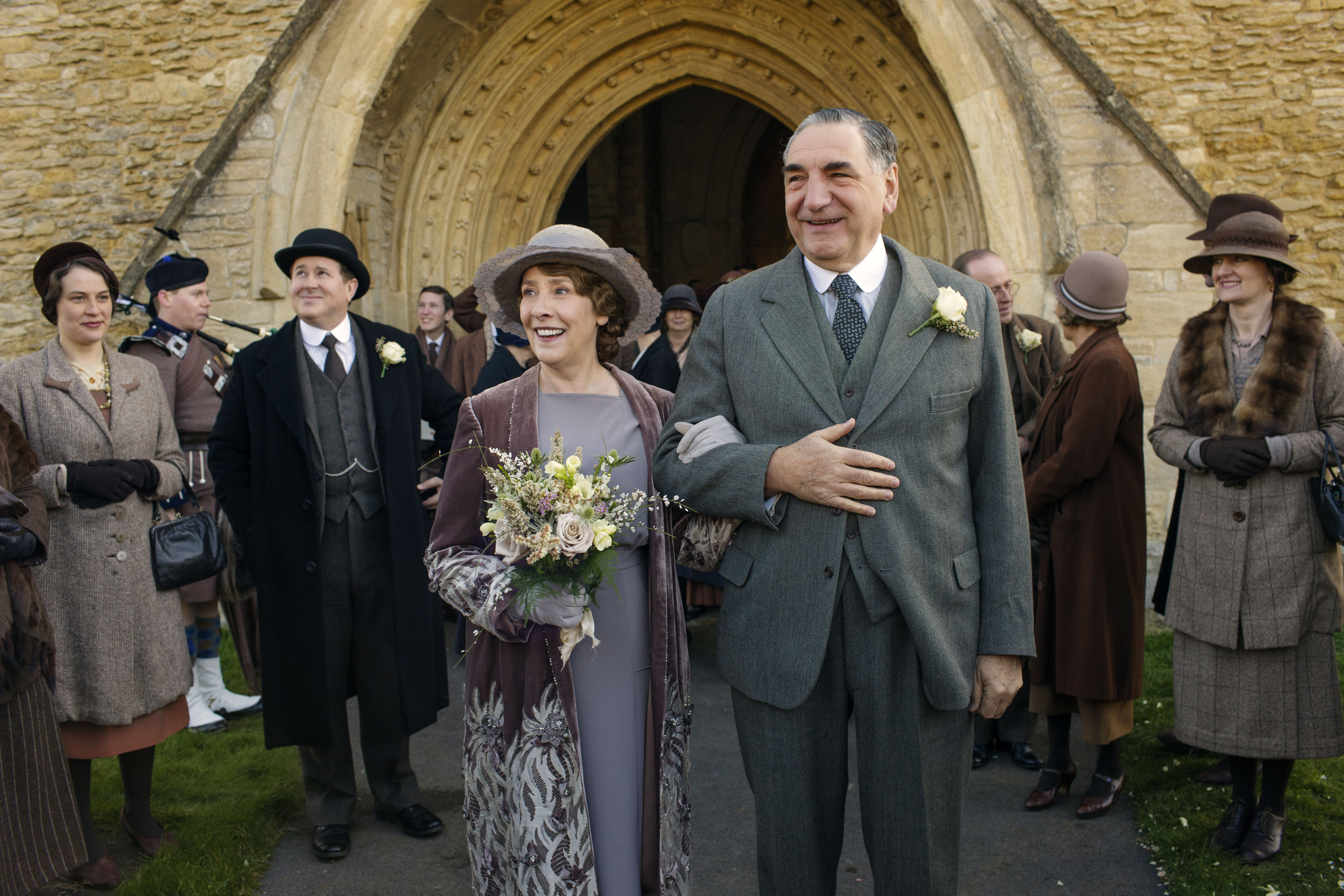 Phyllis Logan as Mrs. Hughes and Jim Carter as Mr. Carson on 'Downton Abbey'