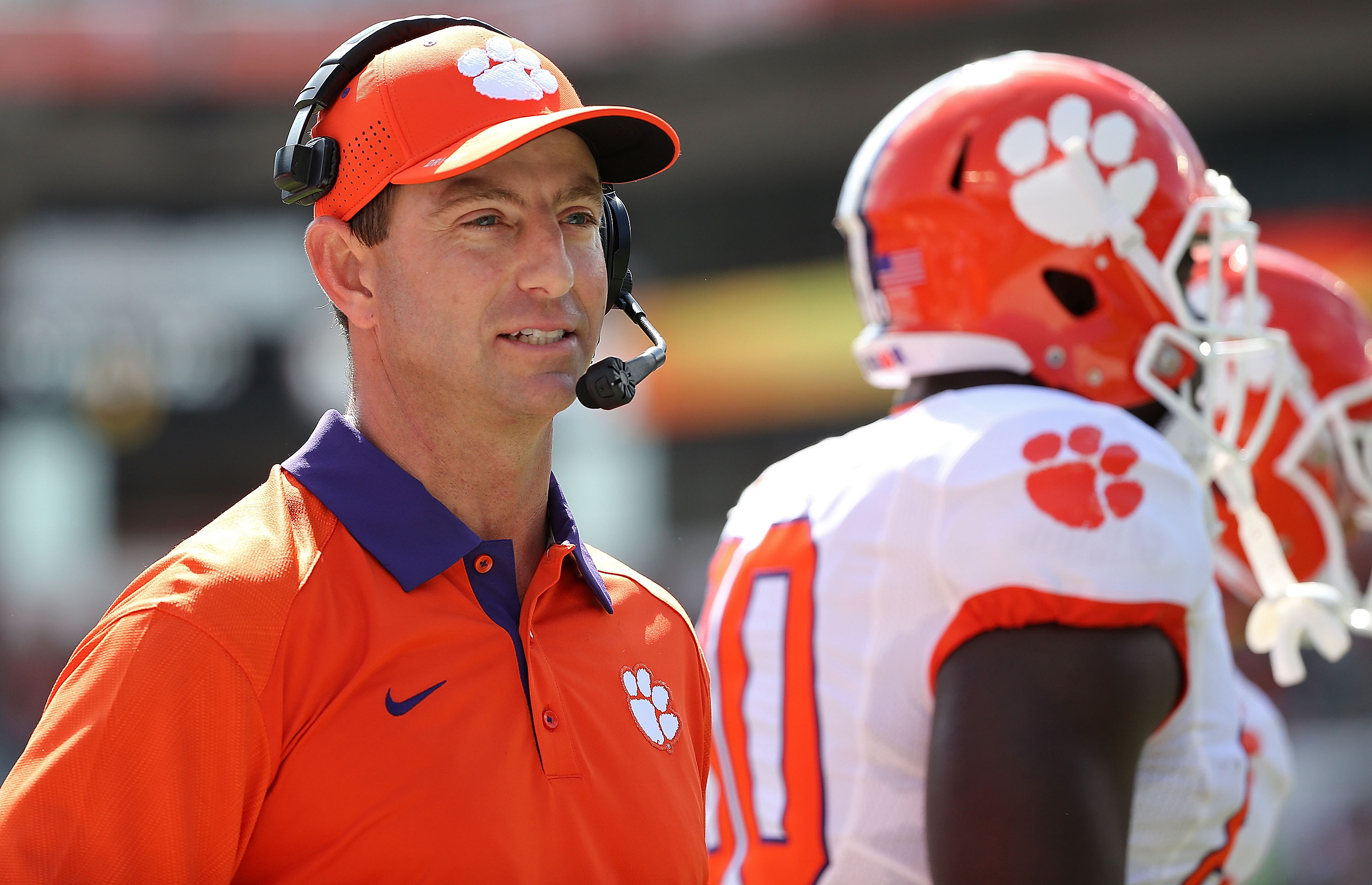 Dabo Swinney of the Clemson Tigers during a game in Miami Gardens, FL on Oct. 24, 2015.