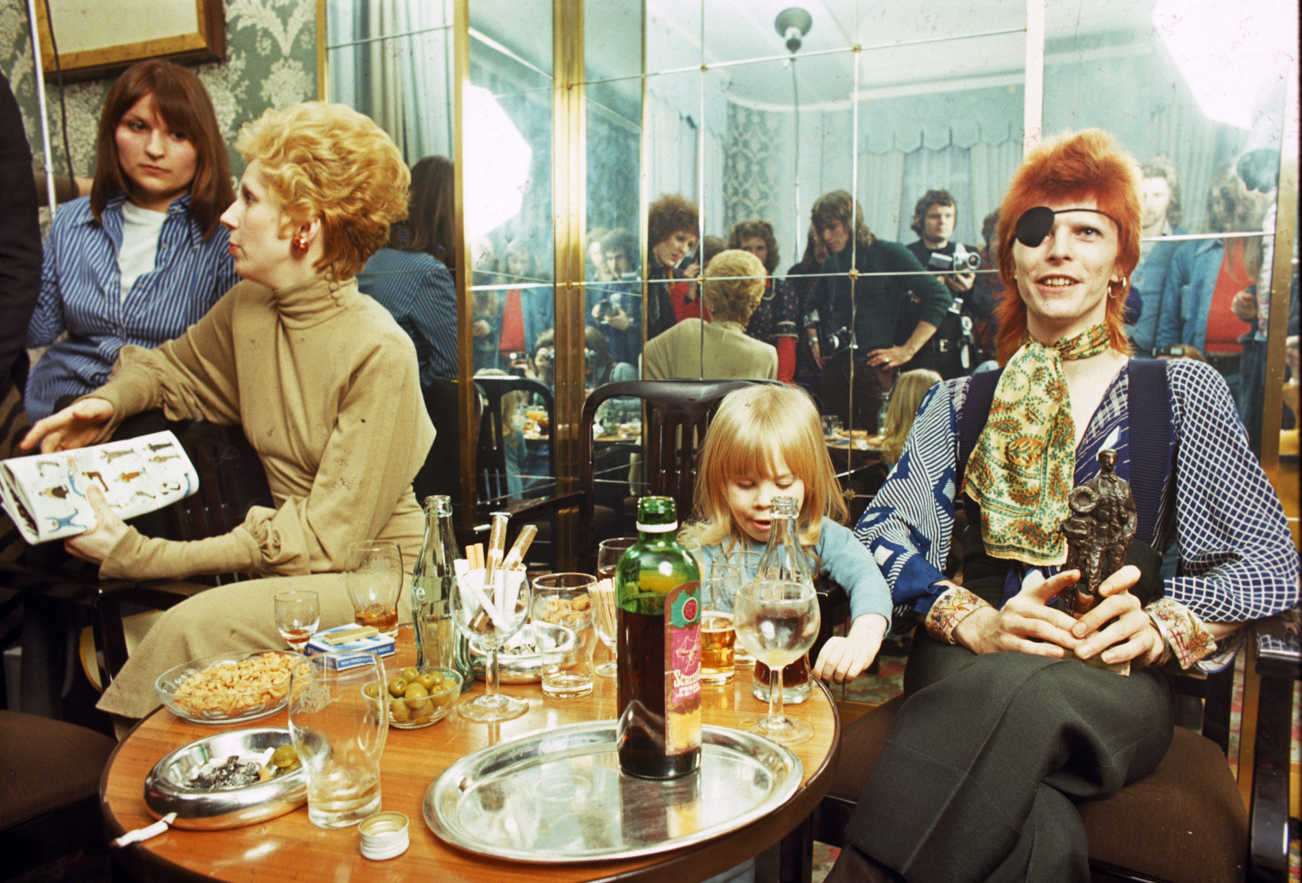 From left: Angie Bowie, his son Zowie Bowie (Duncan Jones) and David Bowie, appear at a press conference at the Amstel Hotel on Feb. 7, 1974 in Amsterdam, Netherlands.