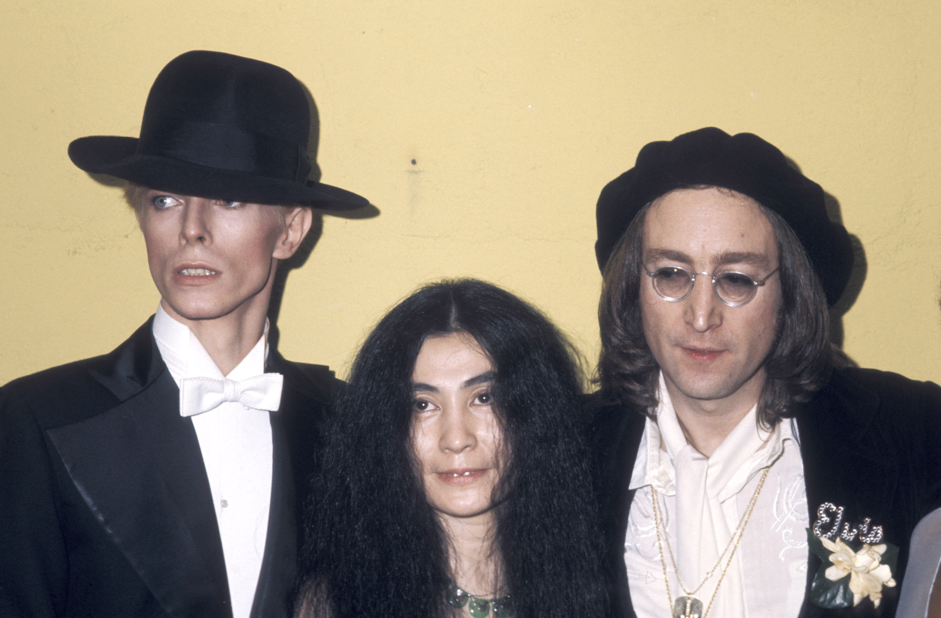 From left: David Bowie, Yoko Ono and John Lennon at the 17th Annual Grammy Awards on Feb. 28, 1975 in New York City.