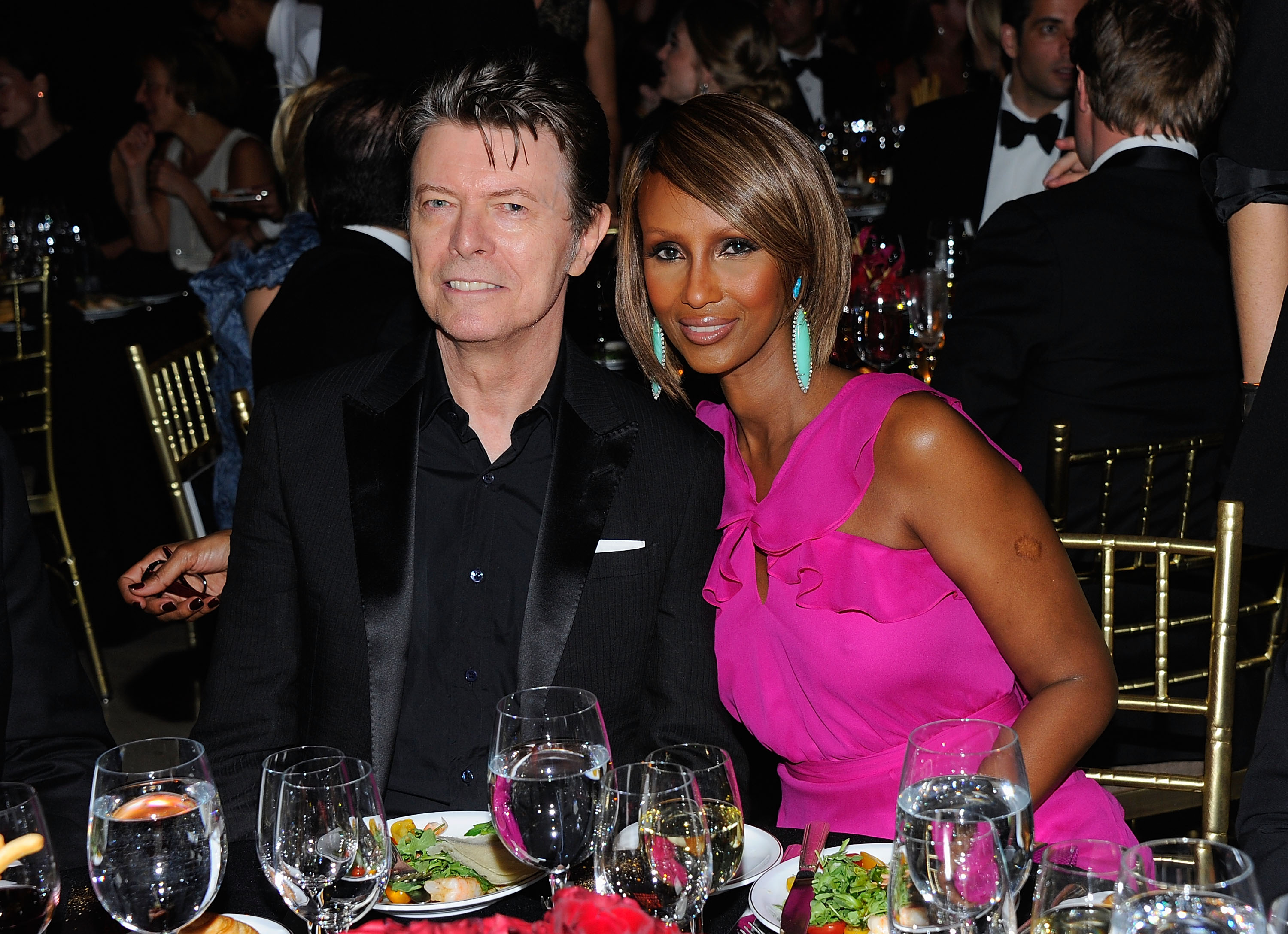 David Bowie and Iman are seen on April 28, 2011 in New York City.