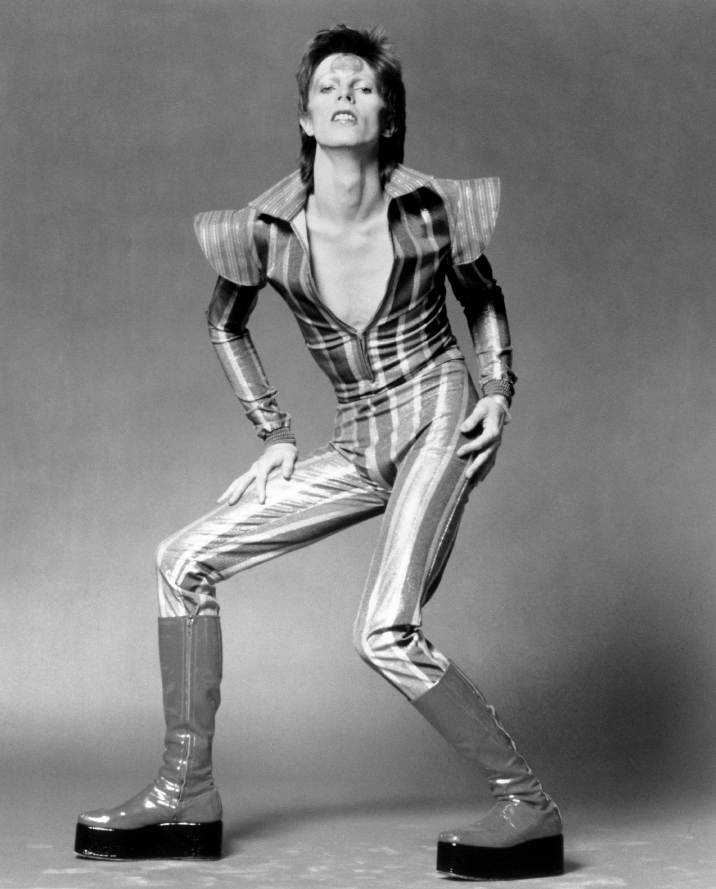 "David Bowie in his ""Ziggy Stardust"" guise in June, 1972 in London."