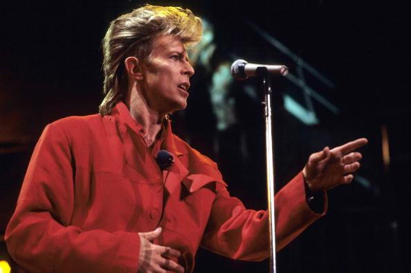 Musician David Bowie performs in concert circa 1987 in New York City.