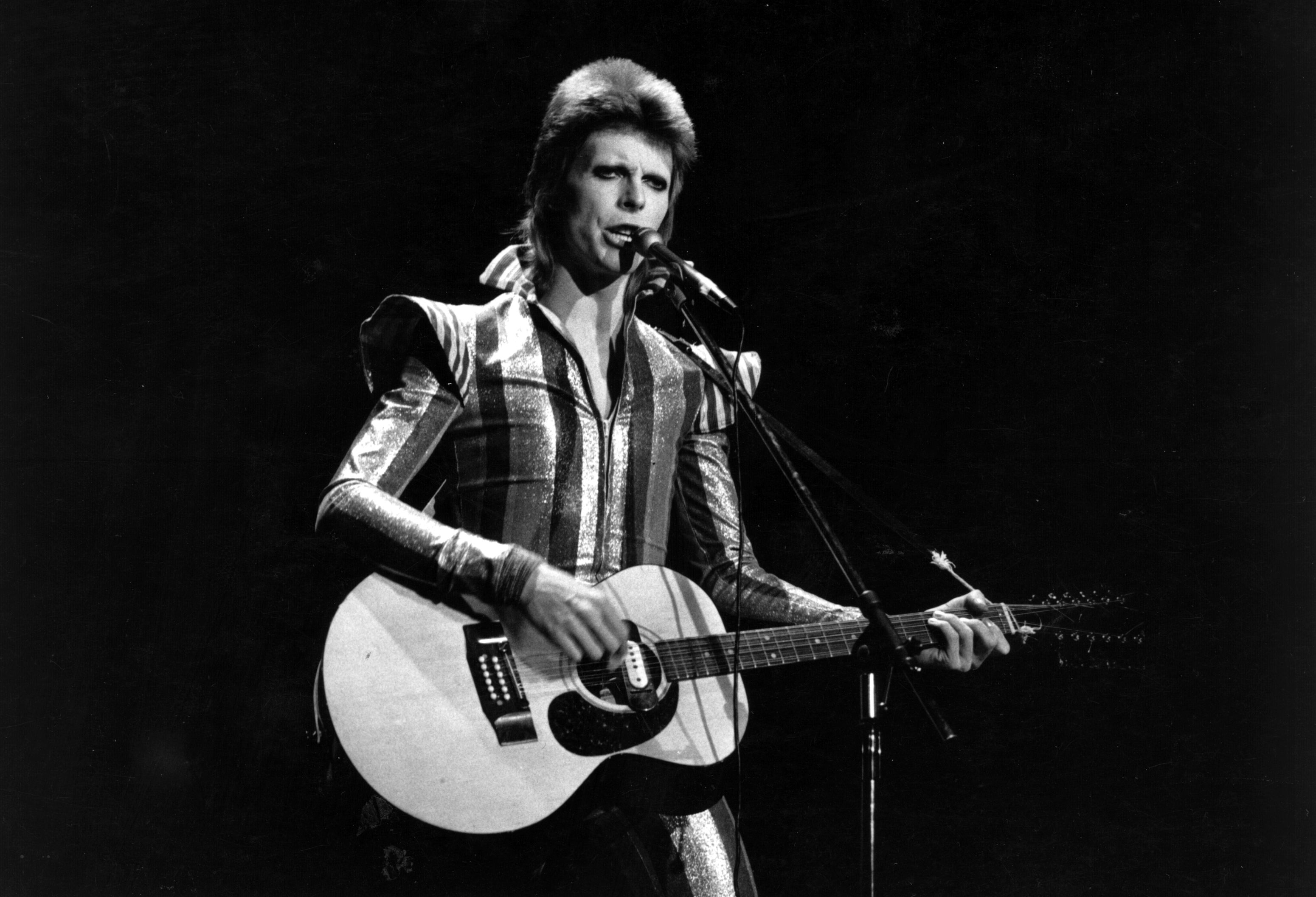 David Bowie performs his final concert as Ziggy Stardust at the Hammersmith Odeon, London on July 3, 1973.