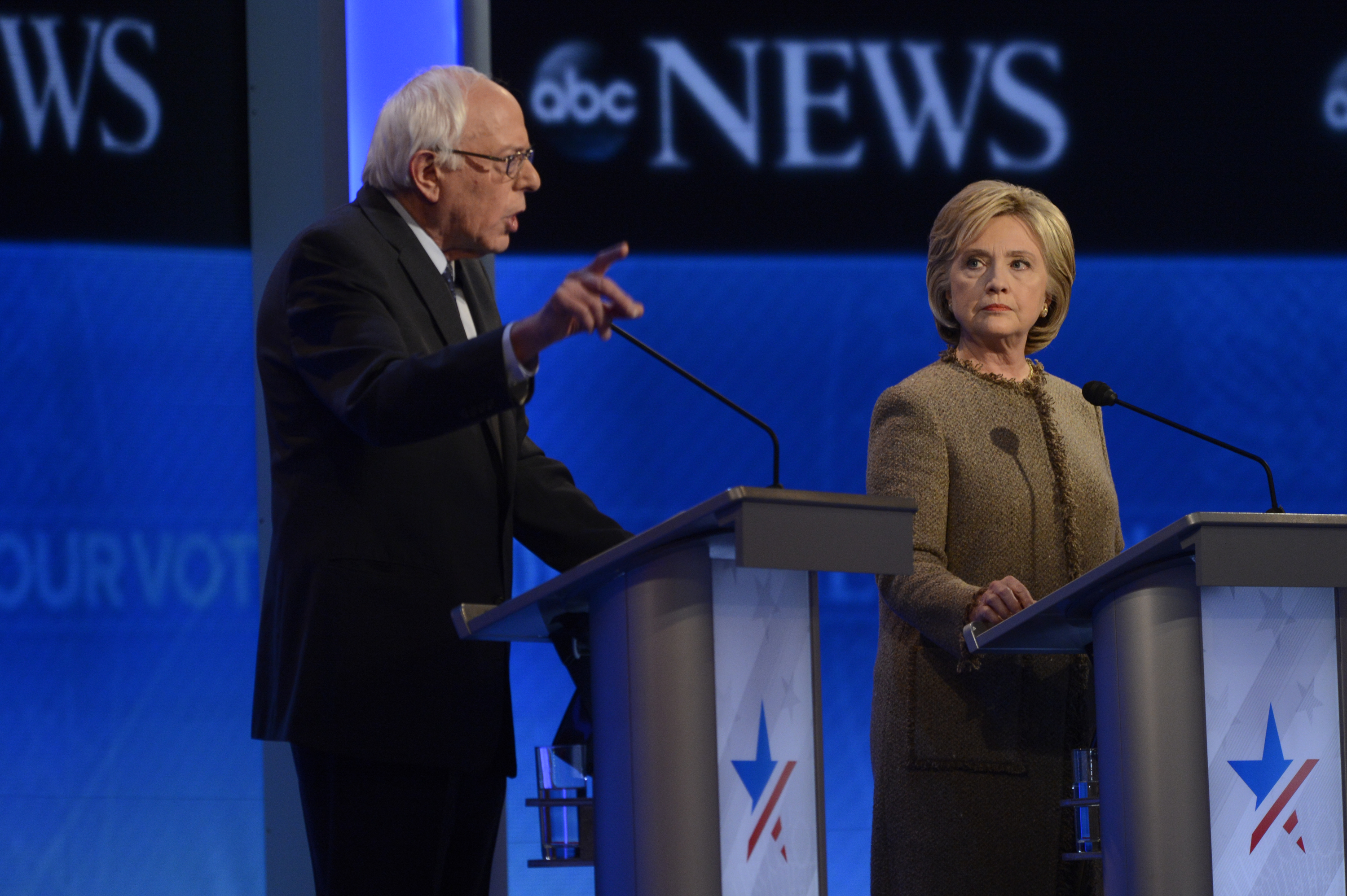 Hillary Clinton and Bernie Sanders at the  Democratic Presidential debate at St. Anselm College in Manchester, NH on  Dec. 19, 2015.
