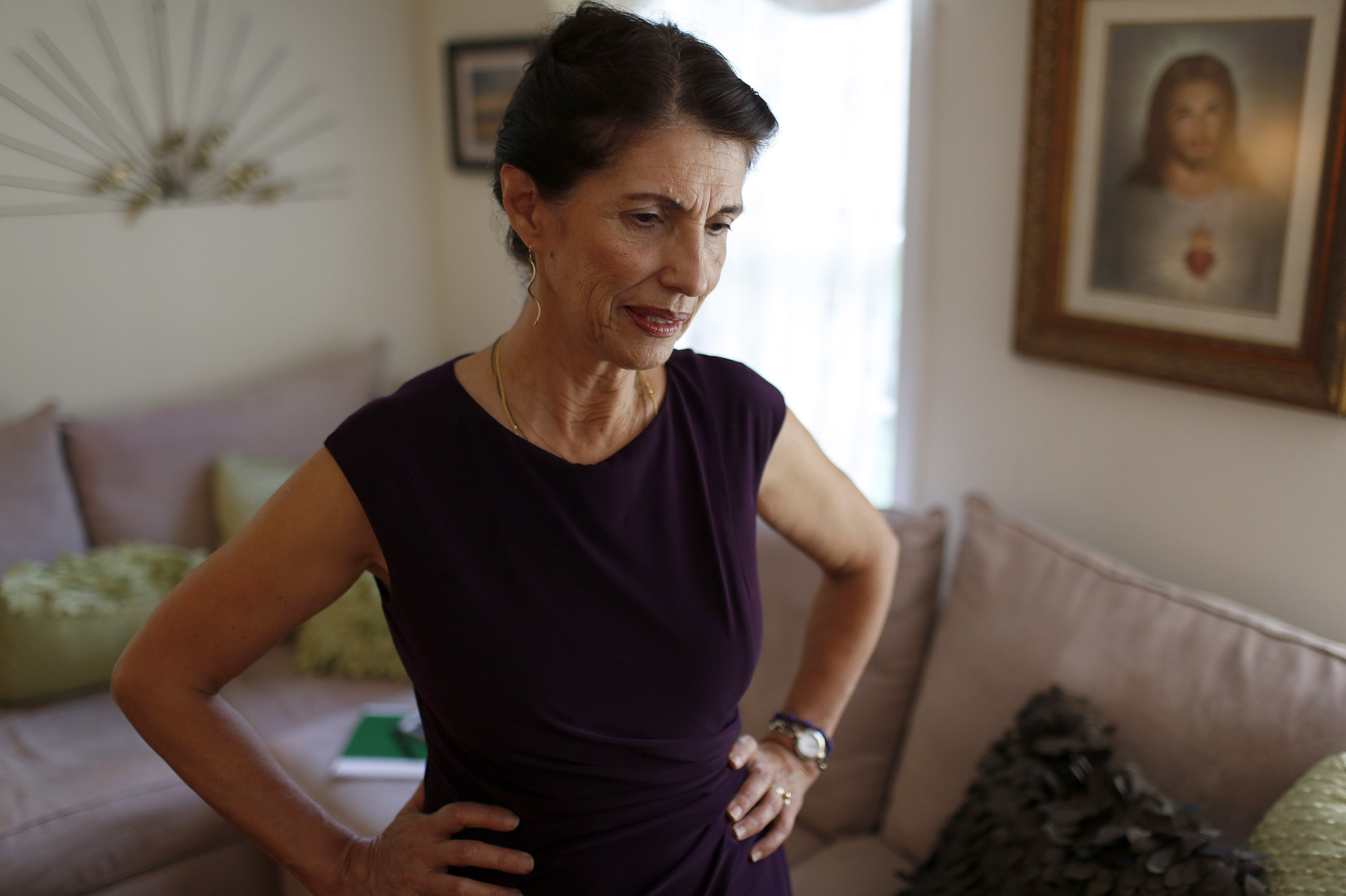 Diane Foley, mother of James Foley, pauses for a moment during an interview at her home August 24, 2014, in Rochester, New Hampshire.