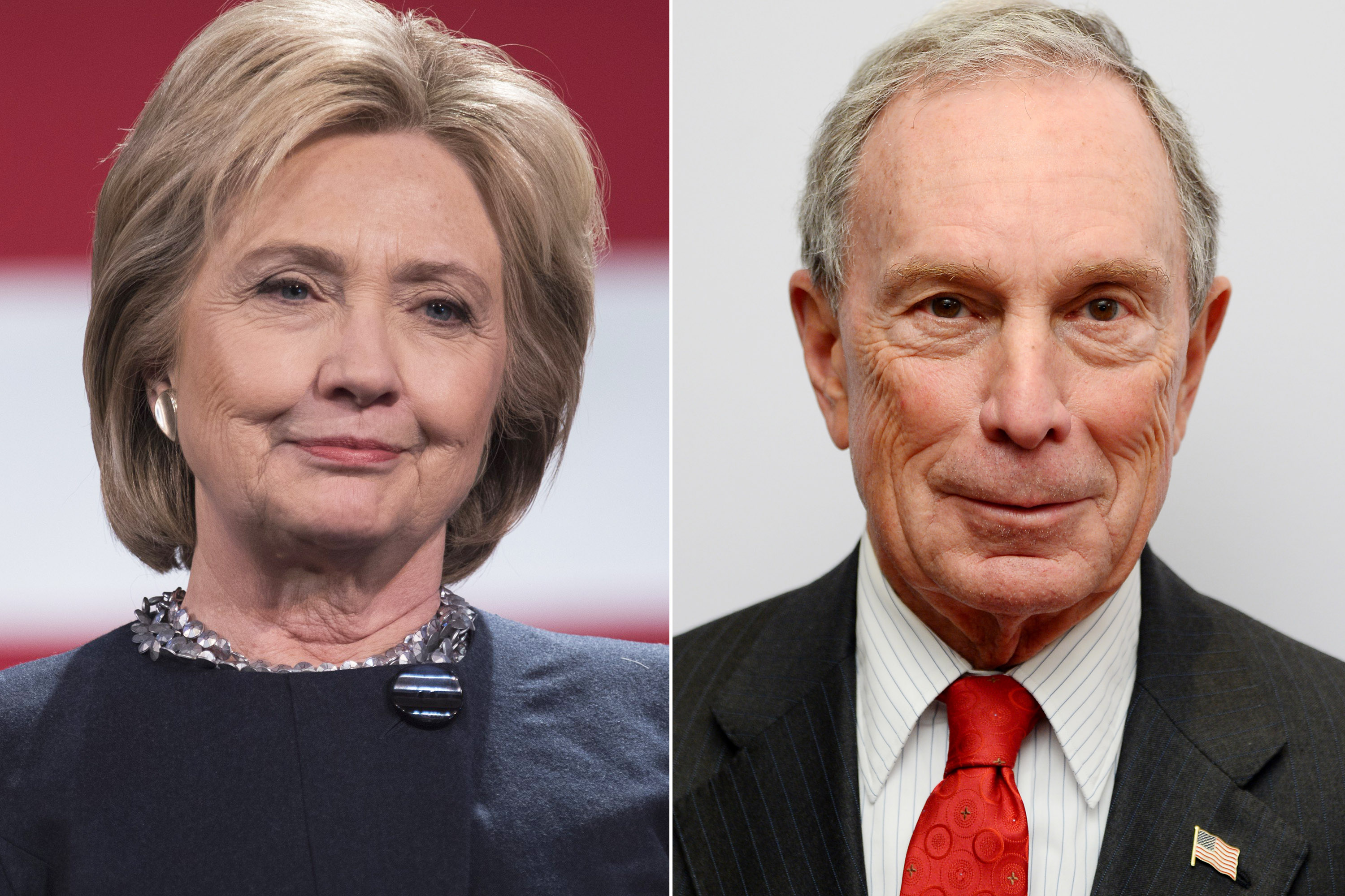 Left Hillary Clinton speaking during a campaign stop at the Rochester Opera House in Rochester, NH on January 22, 2016.  Right Michael Bloomberg attends Jazz at Lincoln Center's Ertegun Atrium and Ertegun Hall of Fame grand reopening at Jazz at Lincoln Center in New York City on Dec. 17, 2015.