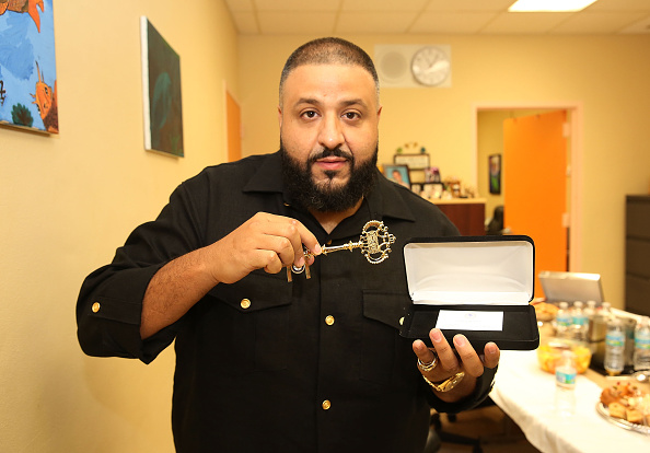 DJ Khaled Visits Dade County Citrus Grove Middle School on October 29, 2015 in Miami, Florida.