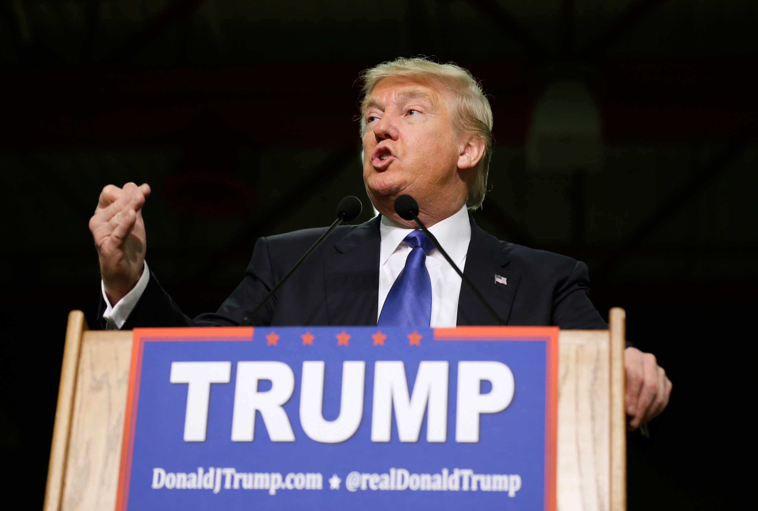 Donald Trump speaks during a campaign rally at Clinton Middle School in Clinton, Iowa, on Jan. 30, 2016.