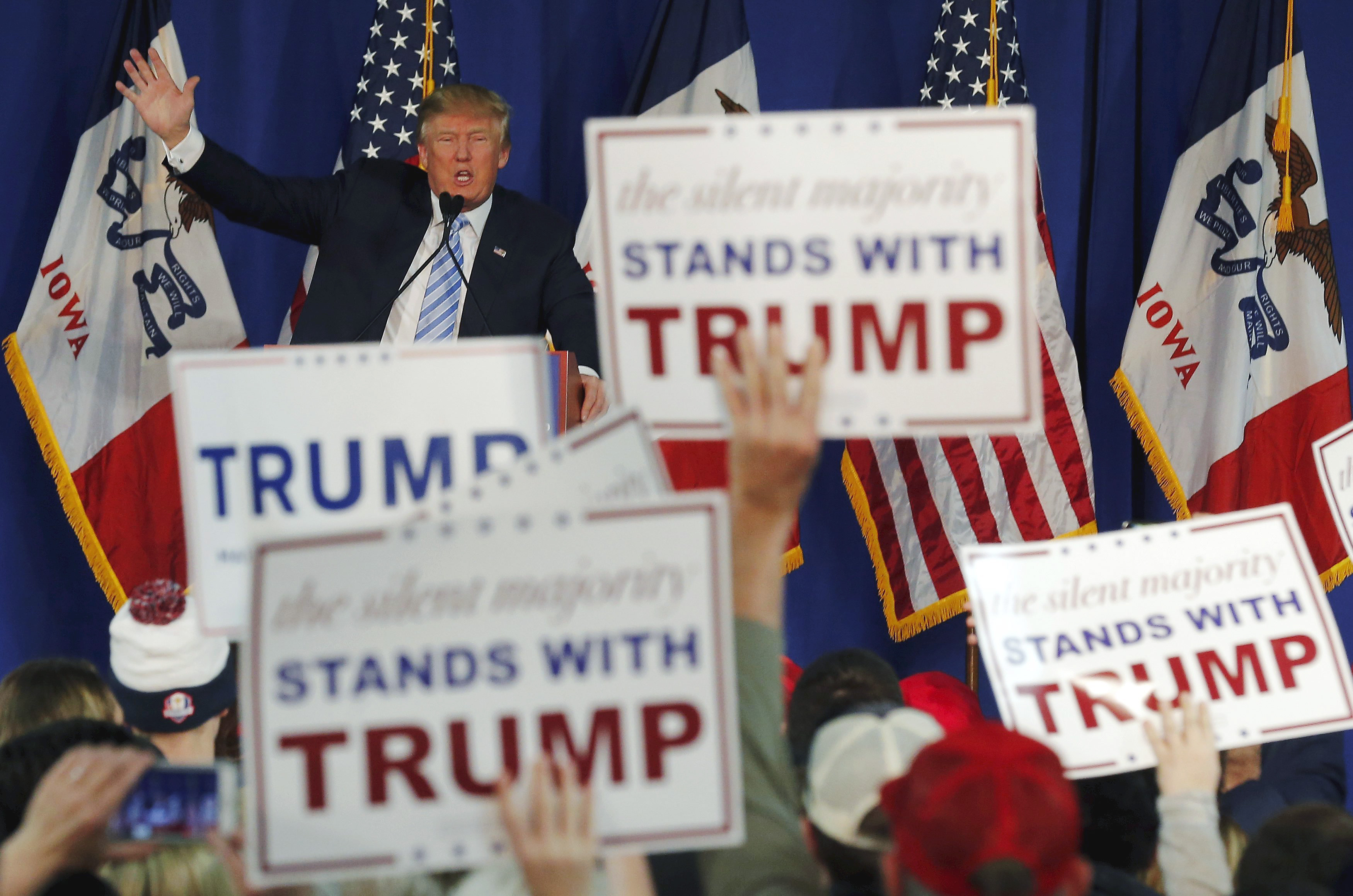 Republican presidential candidate Donald Trump speaks at a campaign event in Muscatine, Iowa on Jan. 24, 2016.