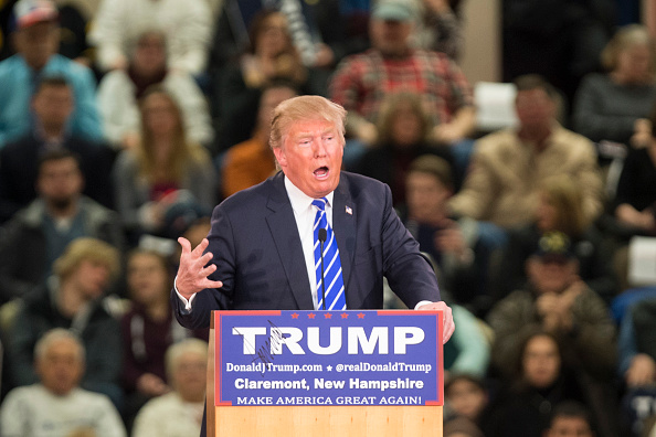 Republican presidential frontrunner Donald Trump speaks at Stevens High School on January 5, 2016 in Claremont, New Hampshire.