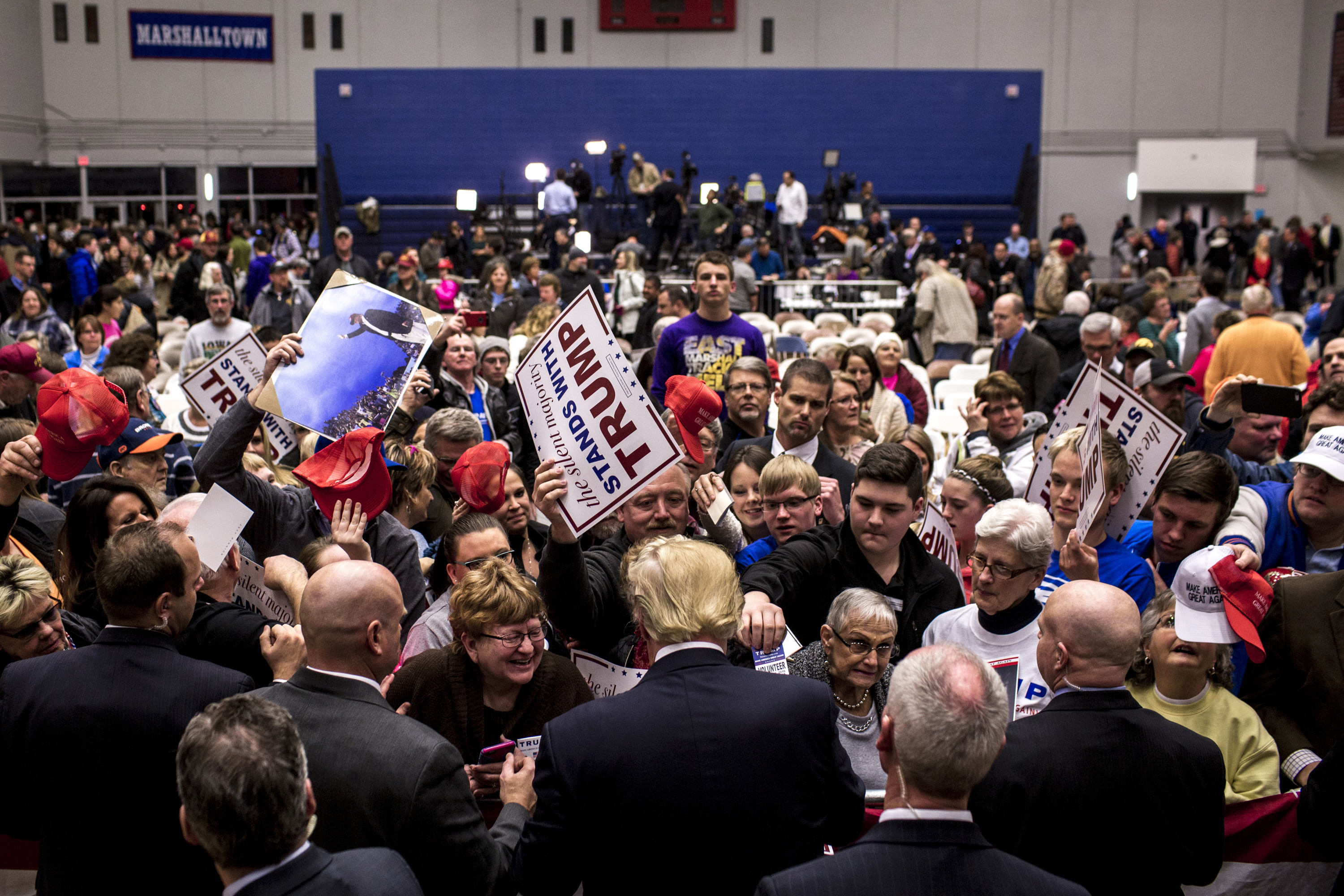 Donald Trump greets supporters at a rally on Jan. 26, 2016, in Des Moines, Iowa.