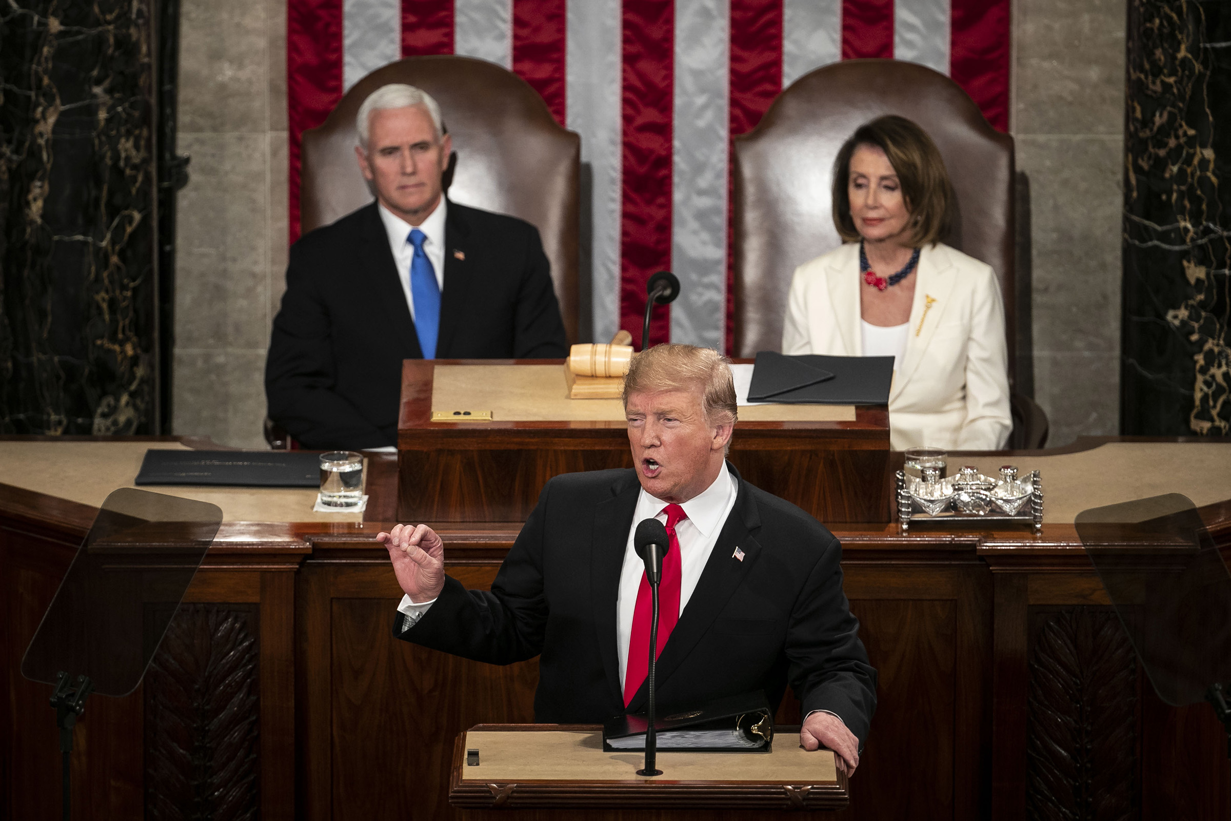 President Donald Trump delivers a State of the Union address to a joint session of Congress at the U.S. Capitol in Washington, D.C., on Feb. 5, 2019.