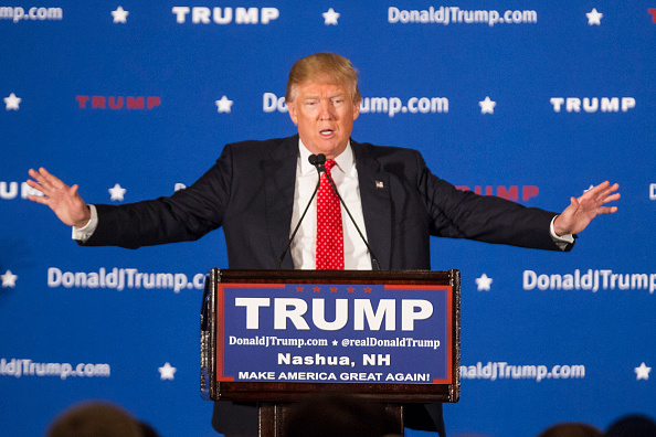 Republican presidential candidate Donald Trump on stage during a Town Hall in Nashua, New Hampshire, on Jan. 29, 2016.