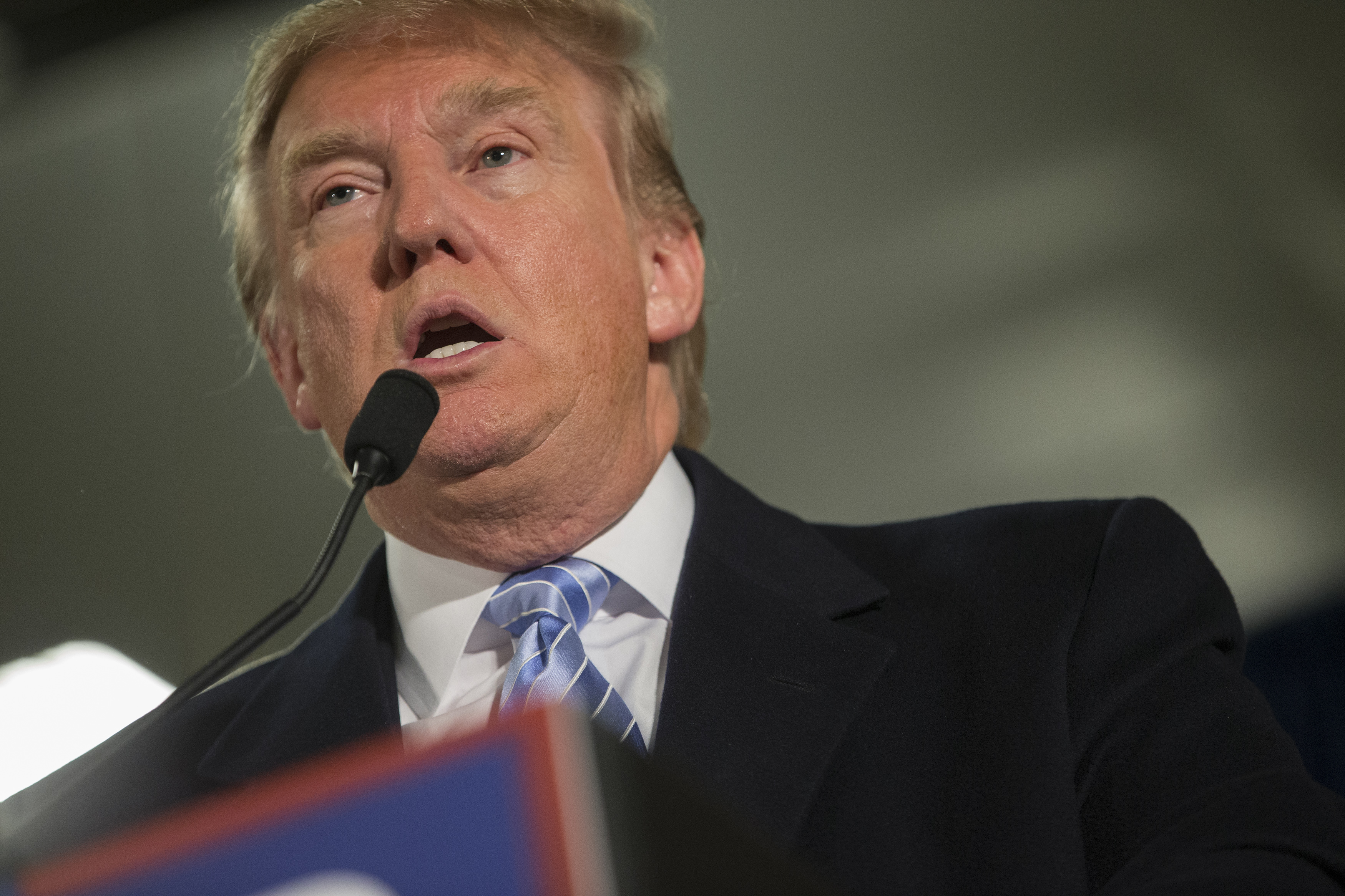 Donald Trump speaks at Hansen Agriculture Student Learning Center at Iowa State University on January 19, 2016 in Ames, IA.
