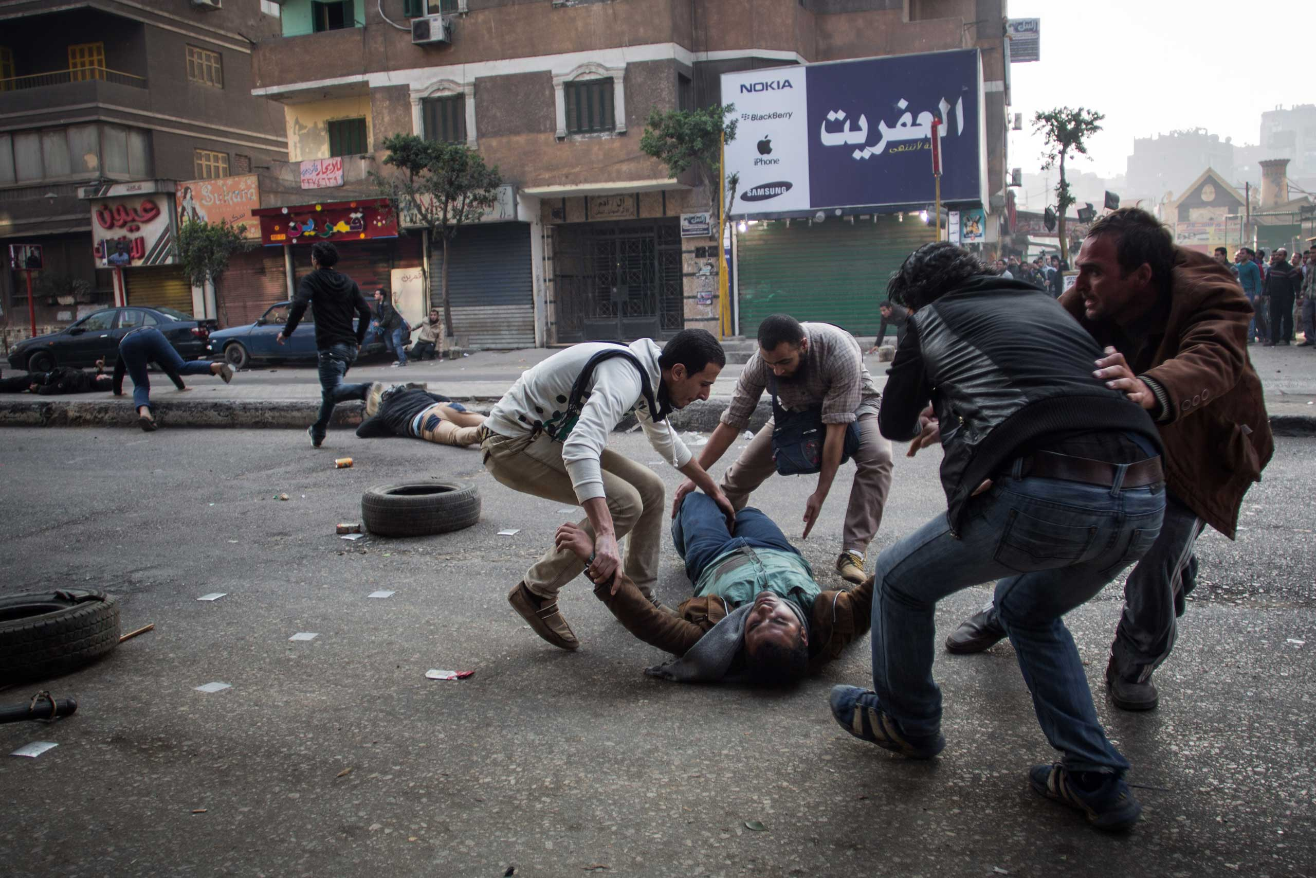 Clashes on the third anniversary of Egypt's revolution in Mohandeseen in Giza, Jan. 25, 2014.