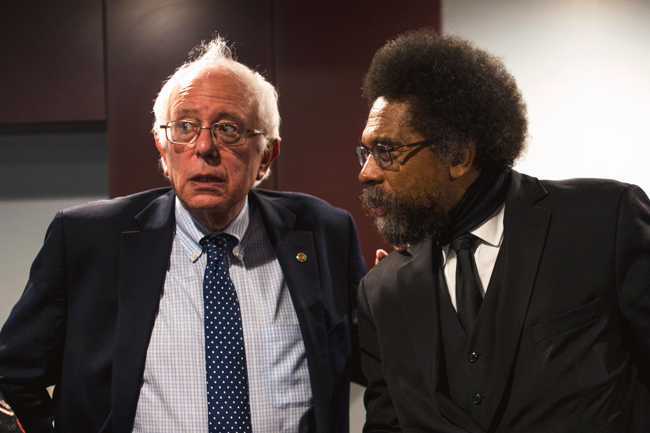 Philosopher and academic Cornel West, right, endorses Vermont Senator Bernie Sanders (I-VT).