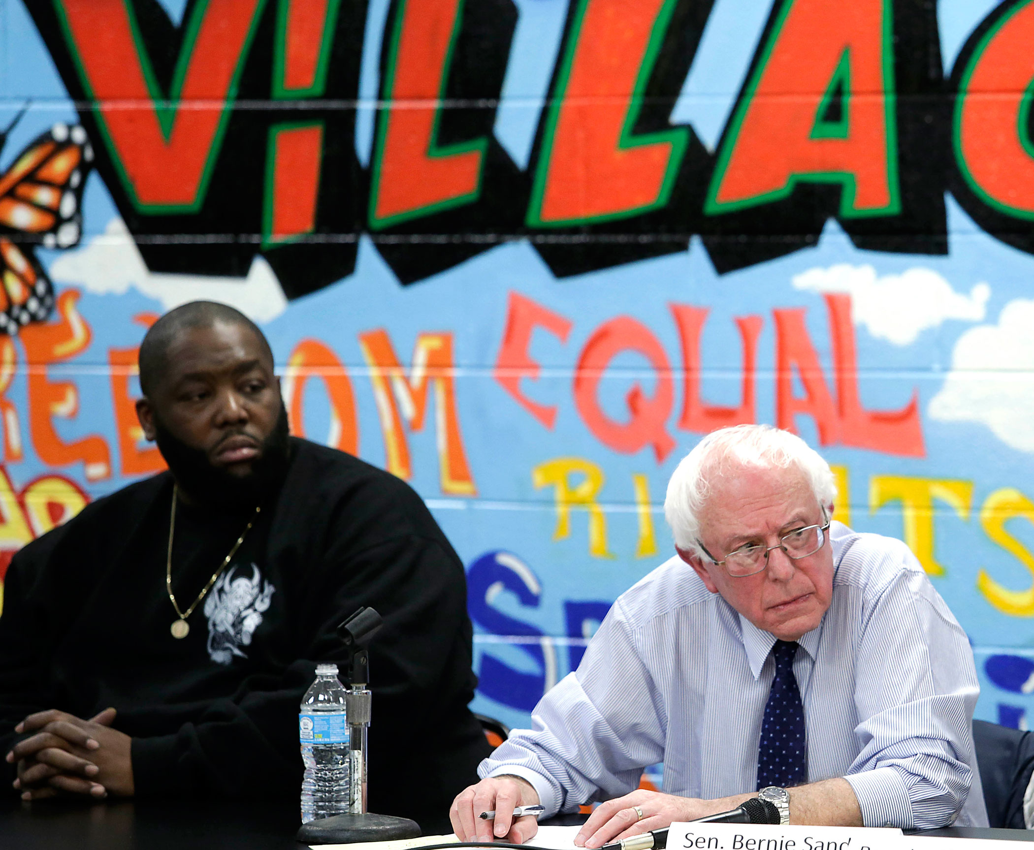 Rapper Killer Mike, left, has endorsed Democratic presidential candidate U.S. Senator Bernie Sanders, (I-VT).