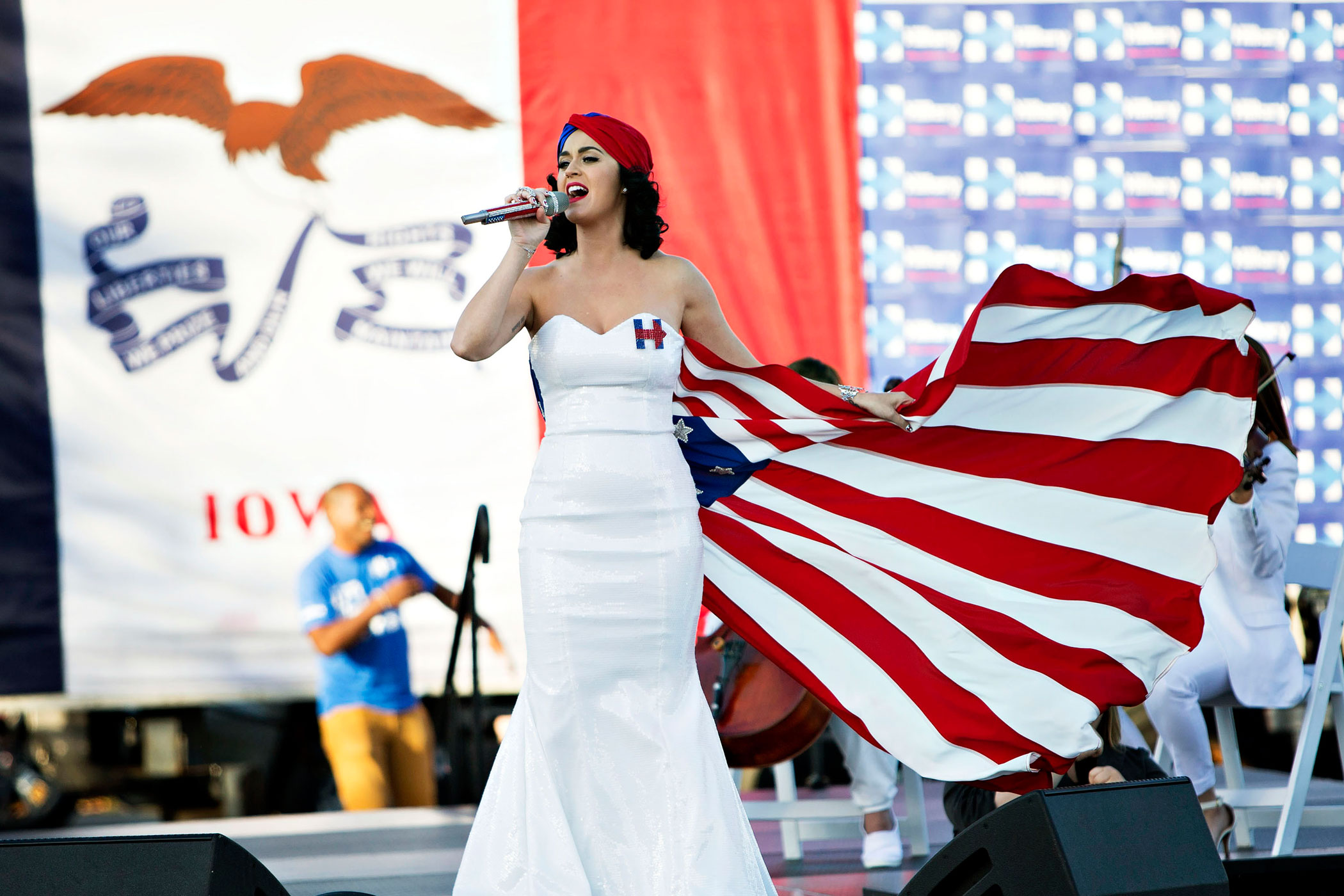 Singer Katy Perry performed during a rally for Hillary Clinton, who she publicly supports.