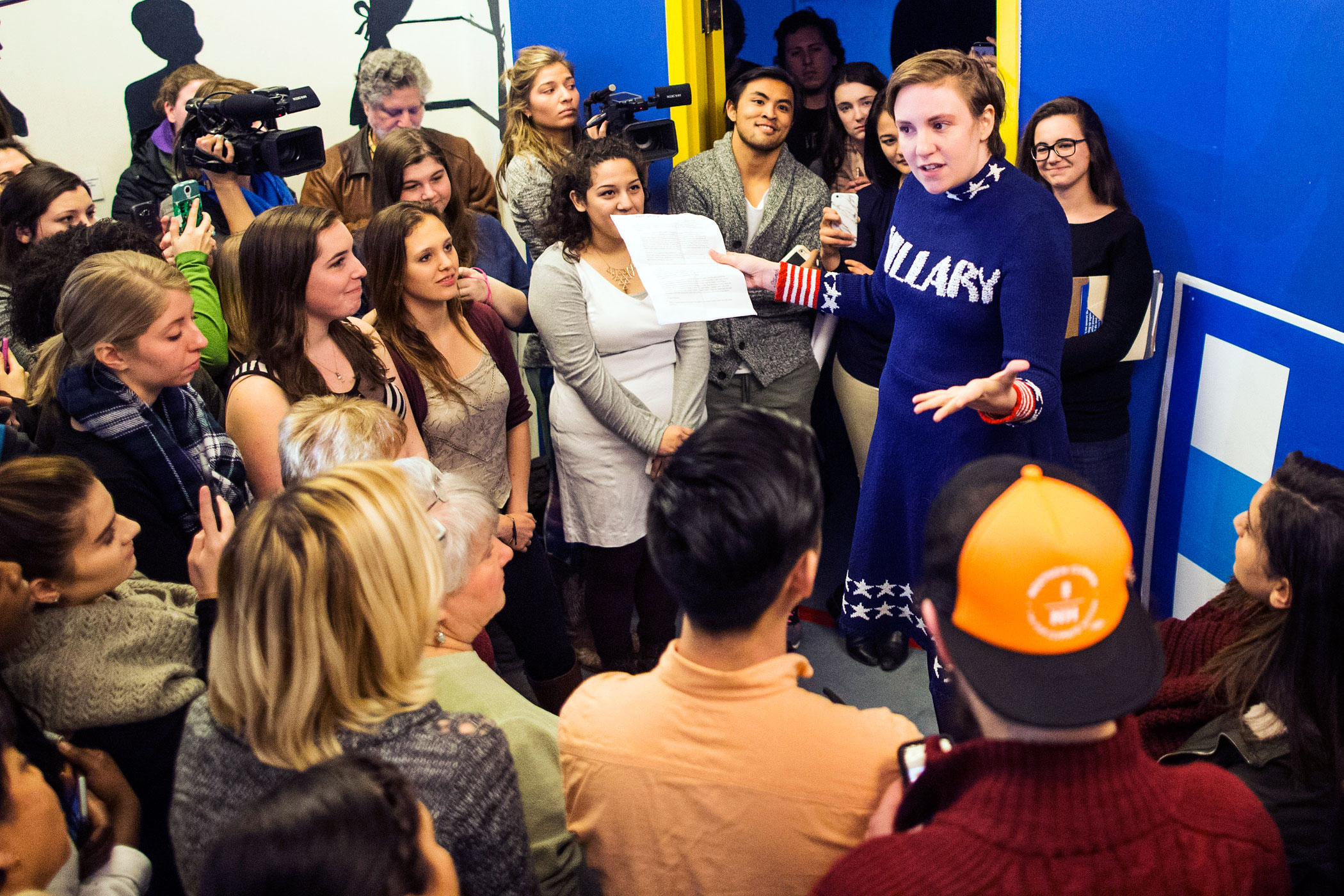 Screenwriter and actress Lena Dunham supports Democratic presidential candidate Hillary Clinton. Here she speaks at a Hillary Clinton campaign office on Jan. 8, 2016 in Manchester, N.H.
