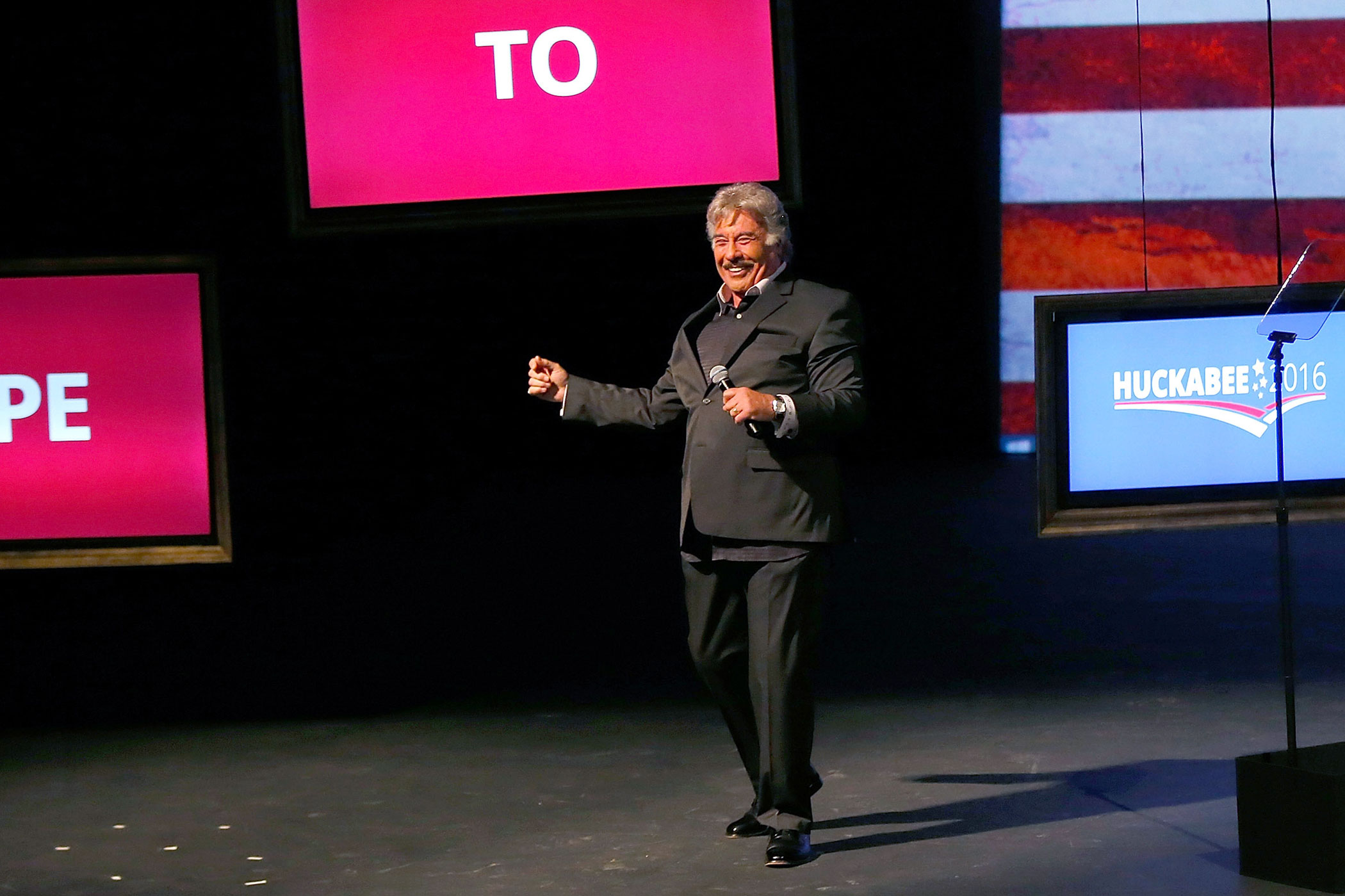 Entertainer Tony Orlando performed during Arkansas Gov. Mike Huckabee's announcement of his candidacy for the 2016 presidential race.