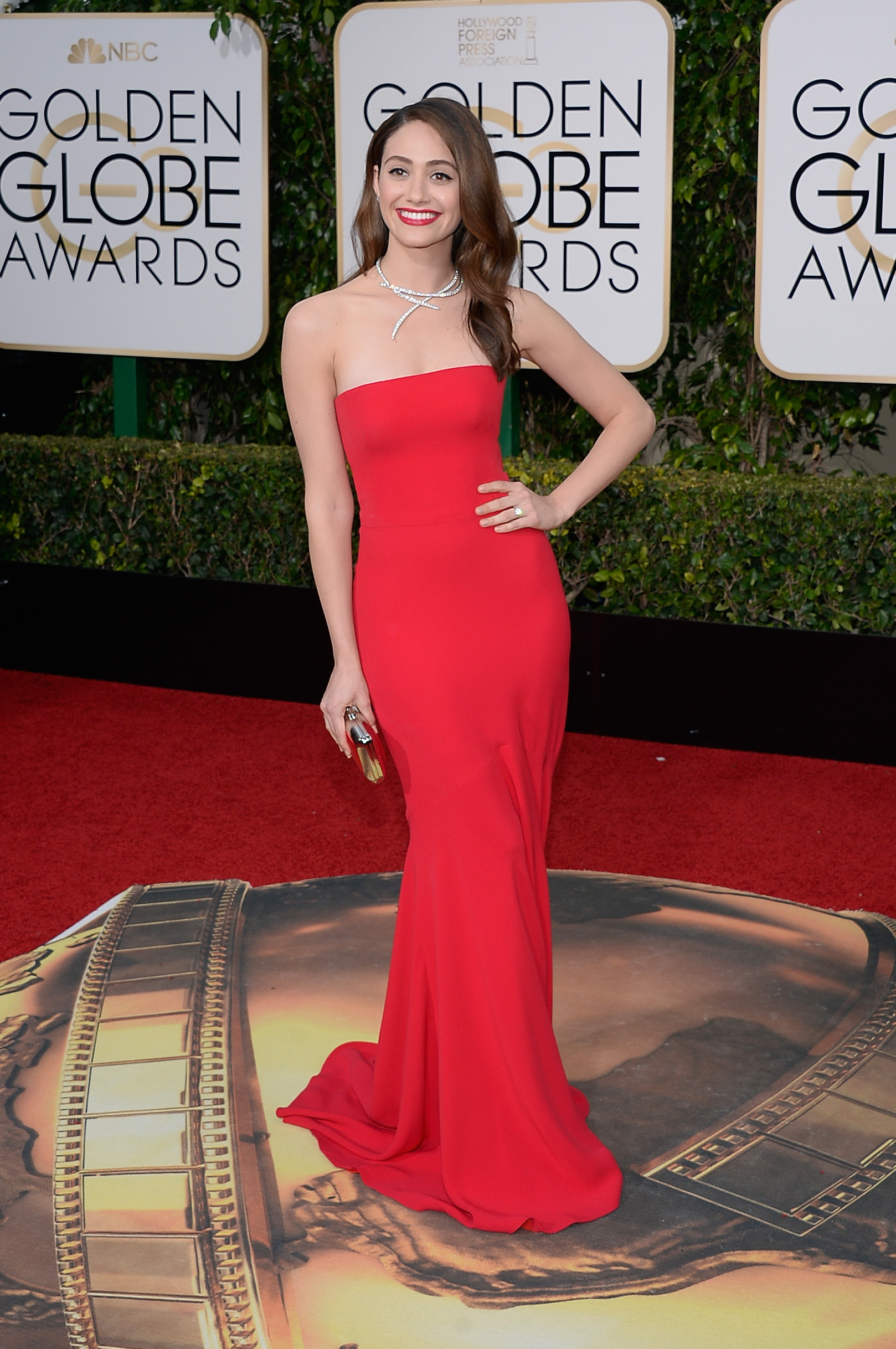 Emmy Rossum arrives to the 73rd Annual Golden Globe Awards on Jan. 10, 2016 in Beverly Hills.