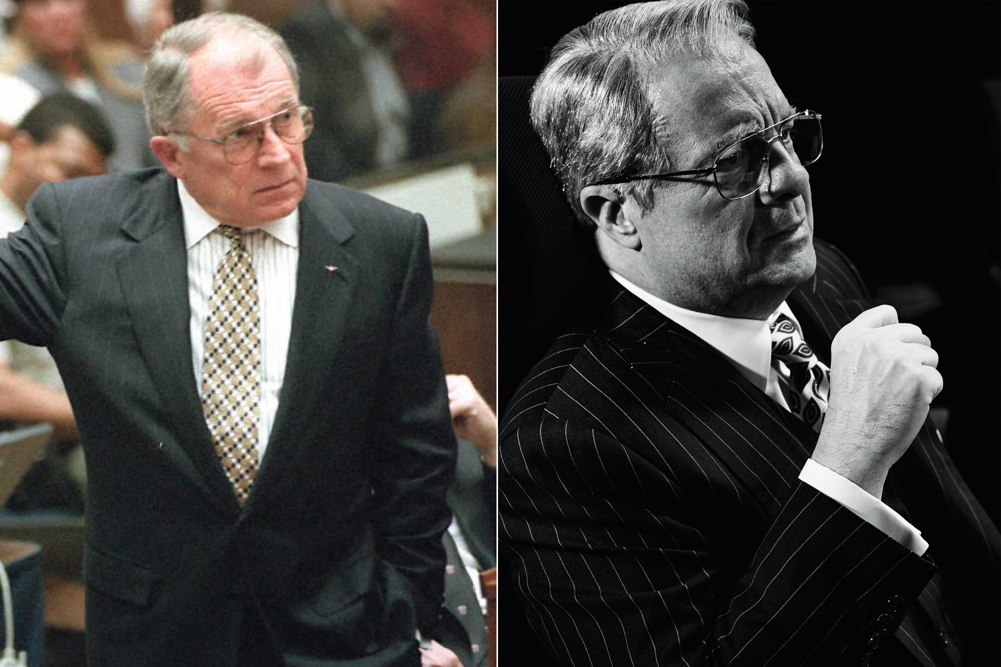 Left: Defense attorney F. Lee Bailey; Right: Nathan Lane.