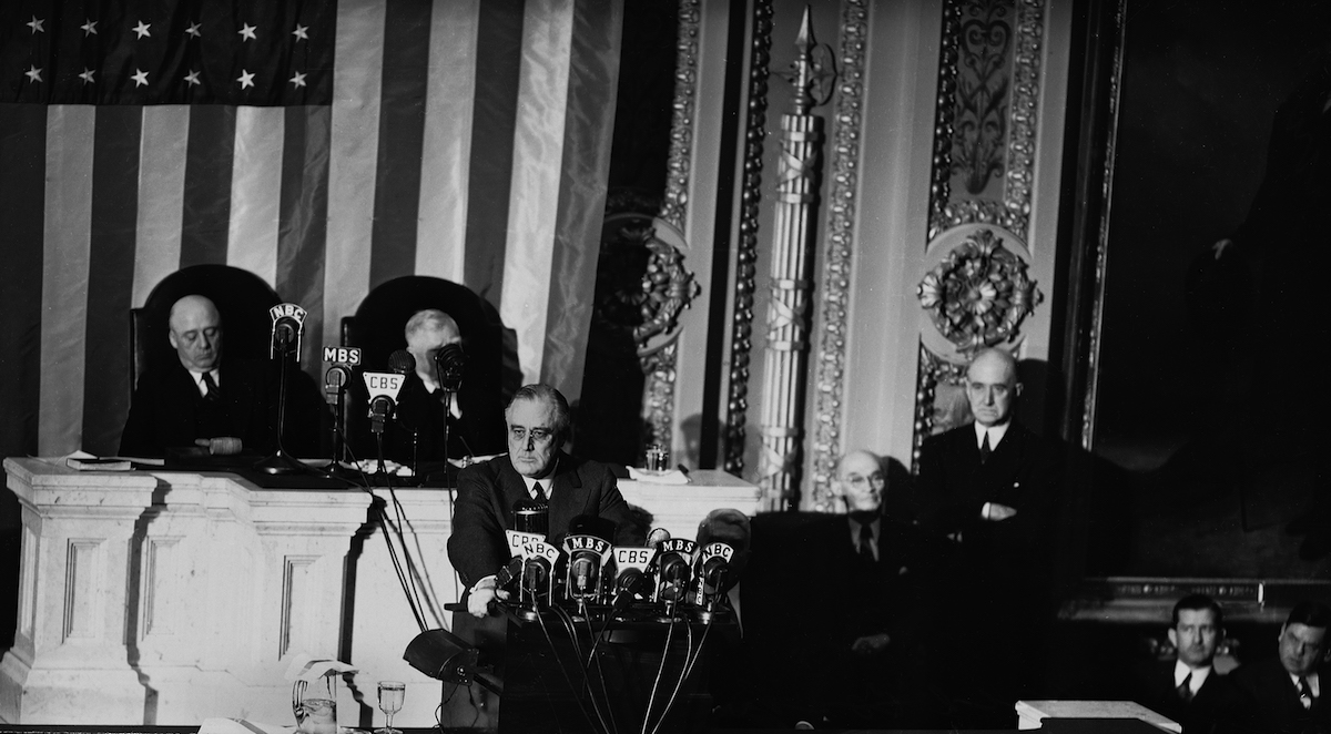 I address you, the members of the 77th Congress, at a moment unprecedented in the history of the Union,  said President Franklin D. Roosevelt as he started his message to the joint session of Congress, Jan. 6, 1941.